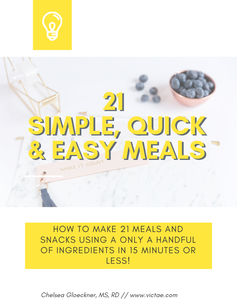 Do you struggle with the time and energy to eat healthy consistently? In just 15 minutes or less, you can make a simple, healthy, quick and delicious meal! Grab your free download for 21 Simple, Quick & Easy Meals and start eating healthier today :)