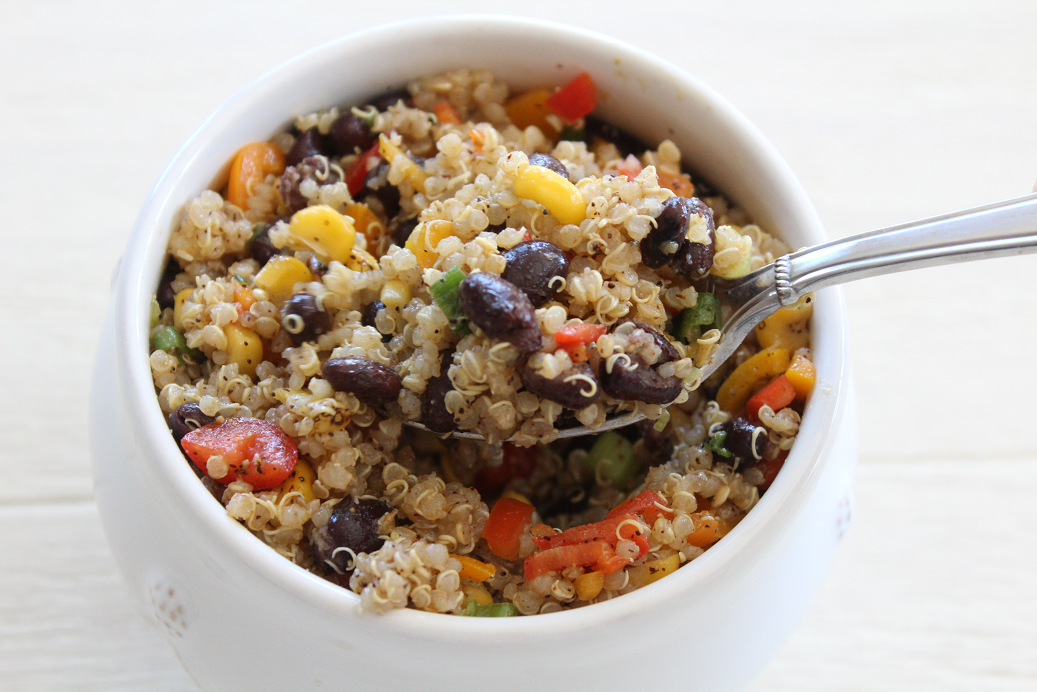 This recipe is a crowd-pleaser! Colorful and delicious, Mexican Fiesta Quinoa Salad is the perfect recipe for healthy meal prepped lunches, quick weeknight dinners, or part of a festive summer BBQ!