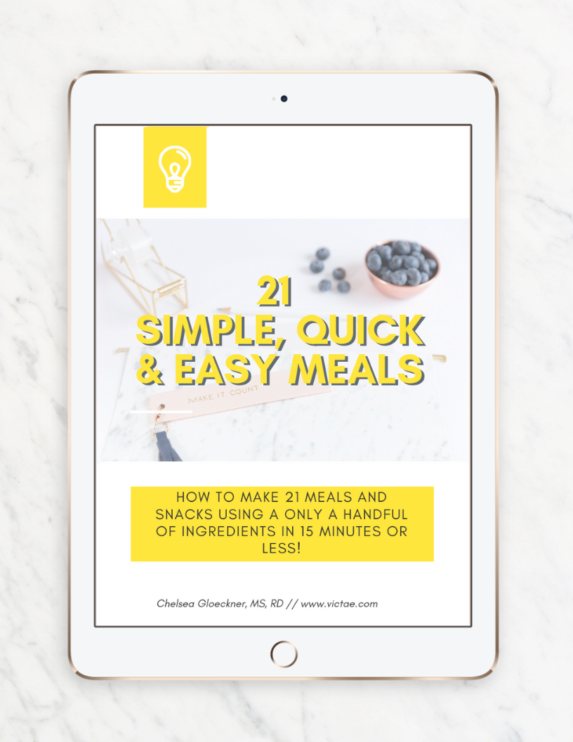 The 10 must-have essentials you need in your kitchen to eat healthier consistently, and how to combine them to make 21 simple, quick & easy meals in 15 minutes or less!