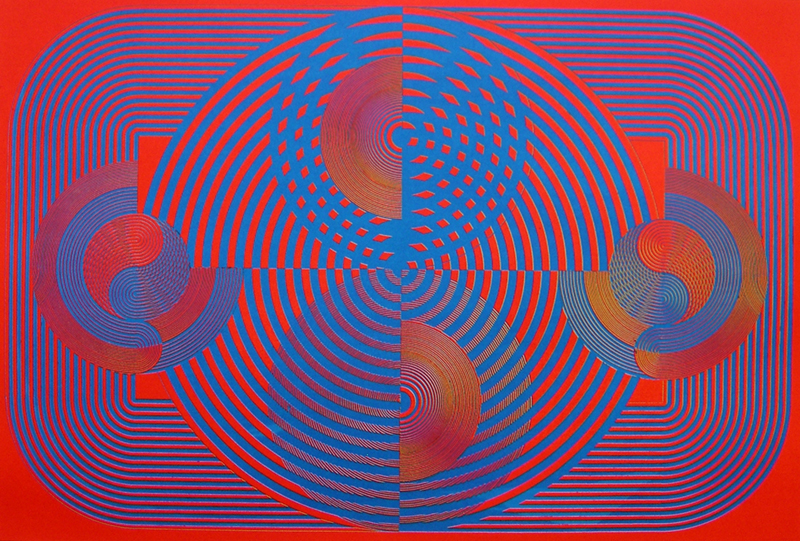 Mervyn WILLIAMS (New Zealander, b.1940),  Chromatic Invention , 1969, seriagraph on paper. Collection of The Suter Art Gallery Te Aratoi o Whakatū: gifted anonymously in 2011.