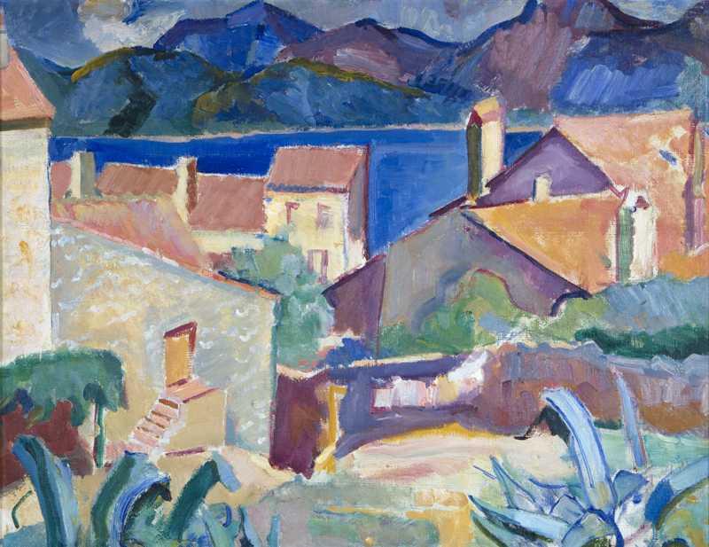 Flora SCALES (New Zealander, b.1887, d.1985), Untitled (Mediterranean Scene), oil on canvas. Collection of The Suter Te Aratoi o Whakatū: gifted by Margaret and Geoff Candy in 1997. Acc. 848.