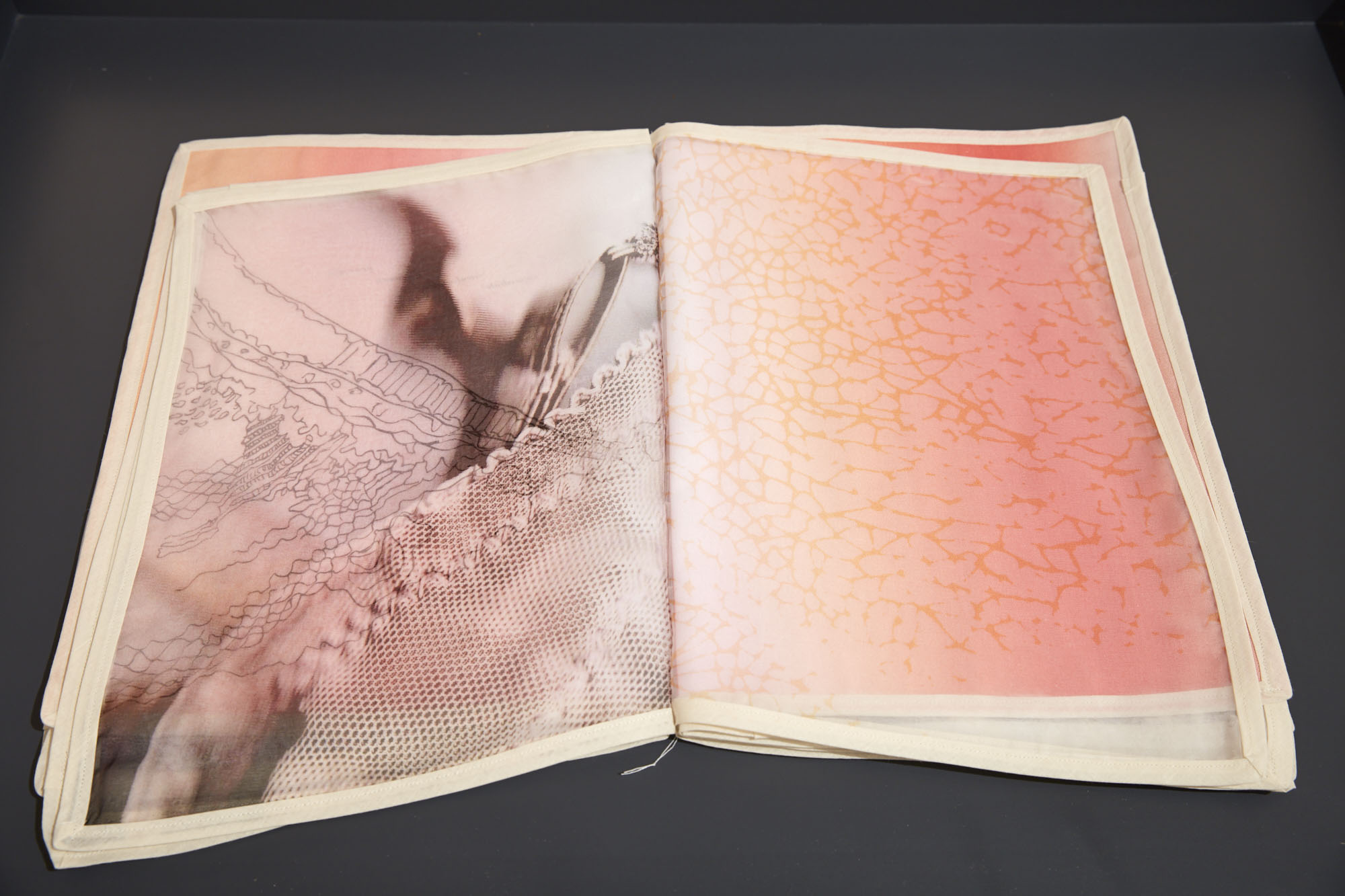 Elke Finkenauer,  Something… …Remember , artist book, 1/1, digital print on silk, cotton, pencil, paint.