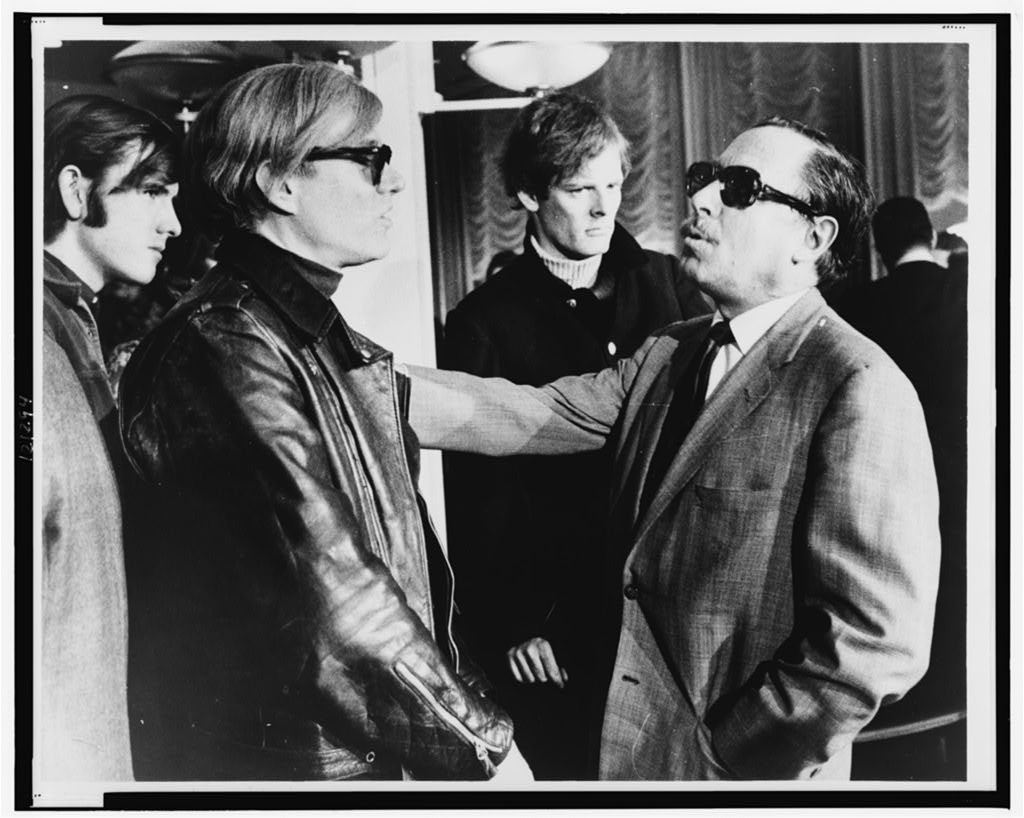 Historic Photograph of   Andy Warhol   (left) and   Tennessee Williams   (right)   talking   on the S.S. France World Journal Tribune photo by James Kavallines