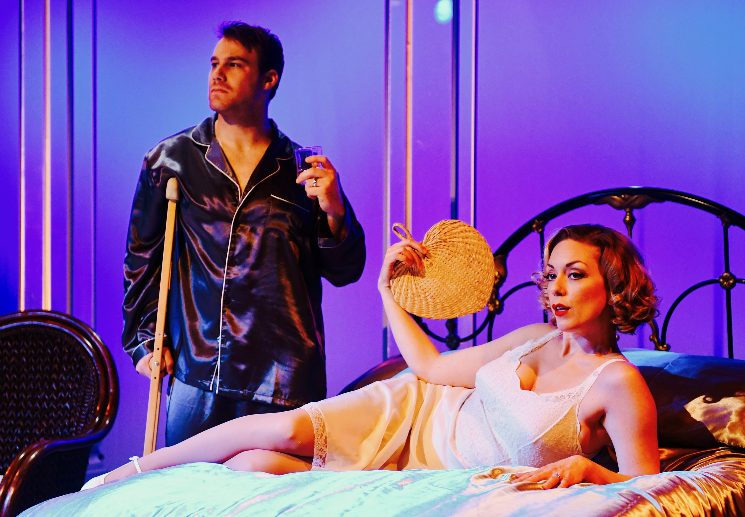 ROB AUGUST* as Brick and ALLISON F. RICH* as Maggie in San Jose Stage Company's CAT ON A HOT TIN ROOF by Tennessee Williams Photo by Dave Lepori *Members of Actors' Equity Association.