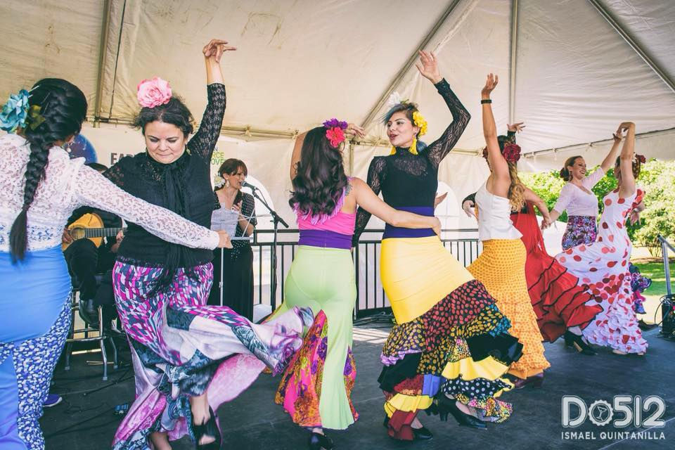 Austin Flamenco Academy students dancing on one of many student performance opportunities we provide