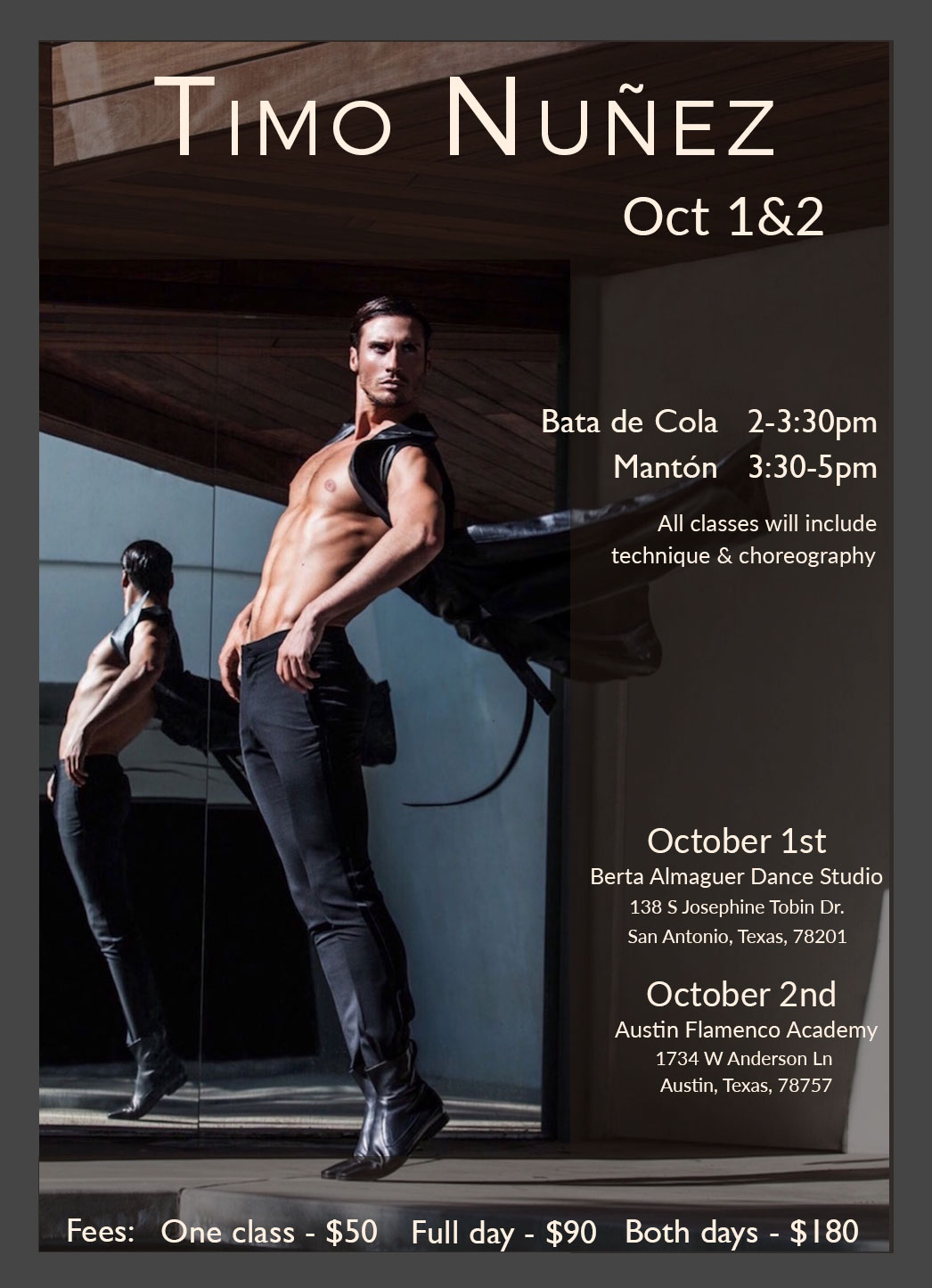 Exclusive flamenco dance workshops with Timo Nunez at the Austin Flamenco Academy