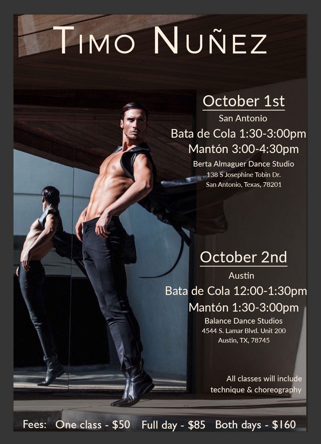 Exclusive Workshops with Timo Nuñez organized by the Austin Flamenco Academy