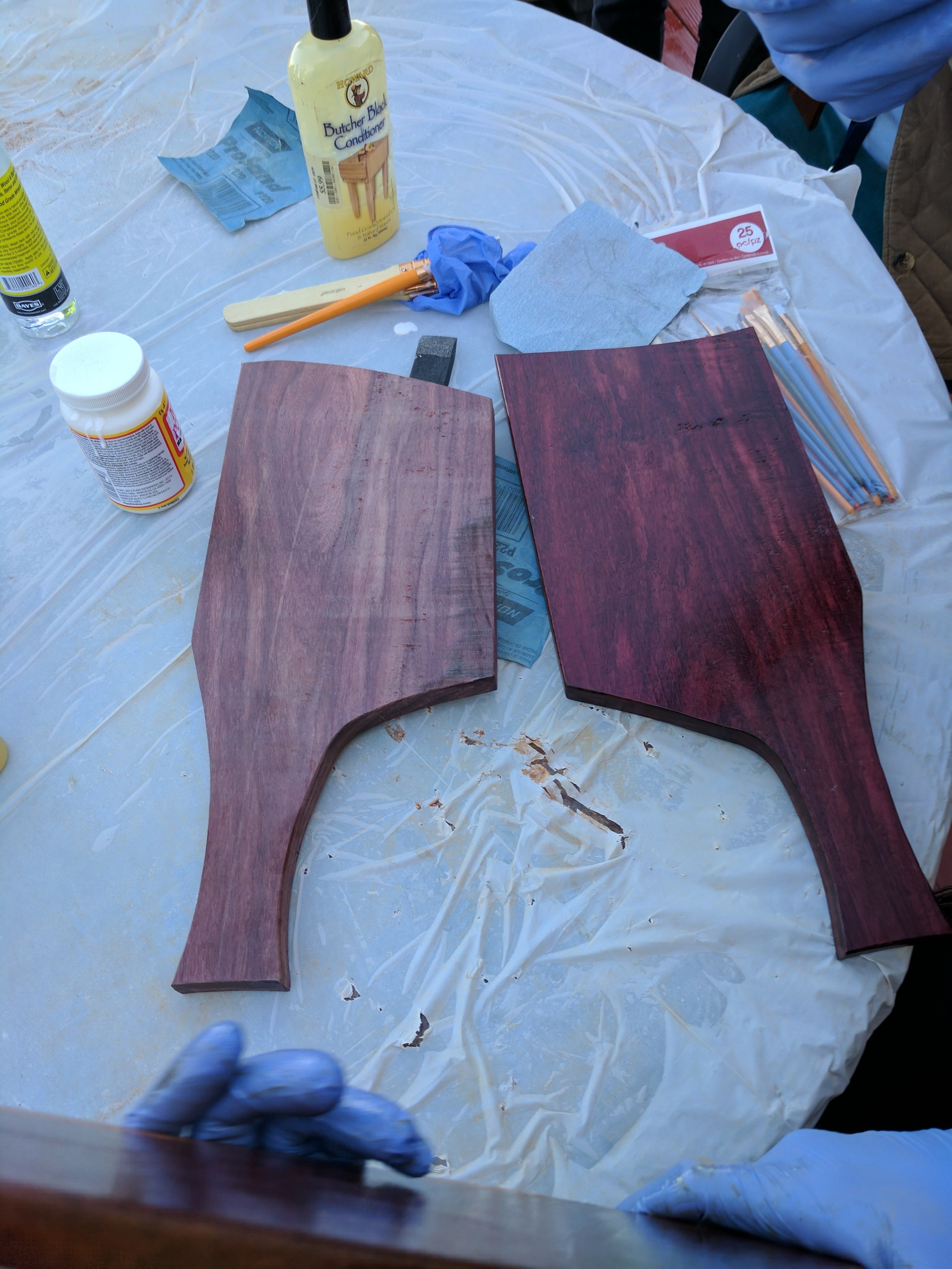 Before sanding and after applying the oil.