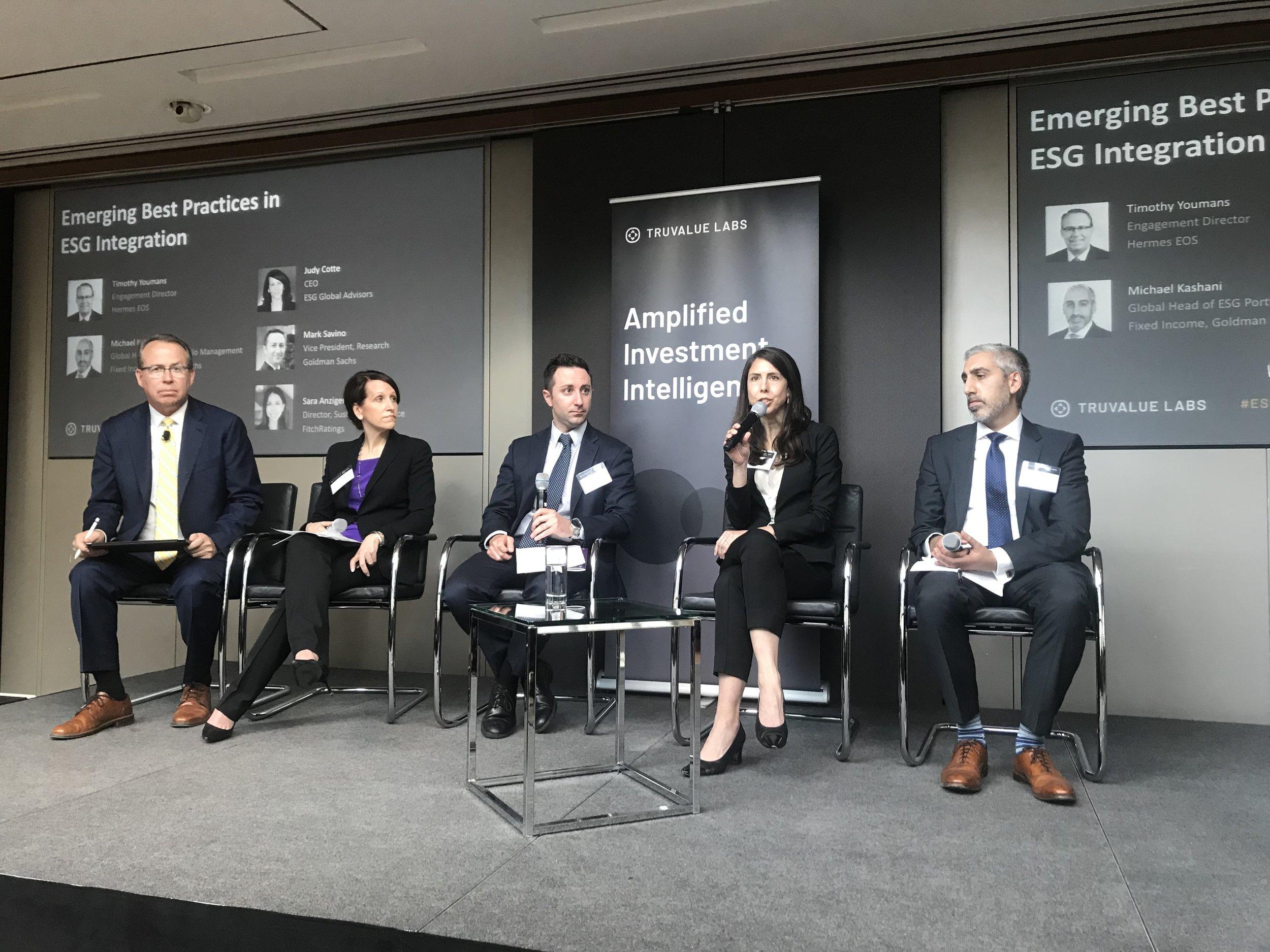 Tim Youmans, Hermes EOS Judy Cotte, ESG Global Advisors Sachs Asset Management Mark Savino, Morgan Stanley Sara Anzinger, Fitch Ratings Michael S. Kashani, Goldman