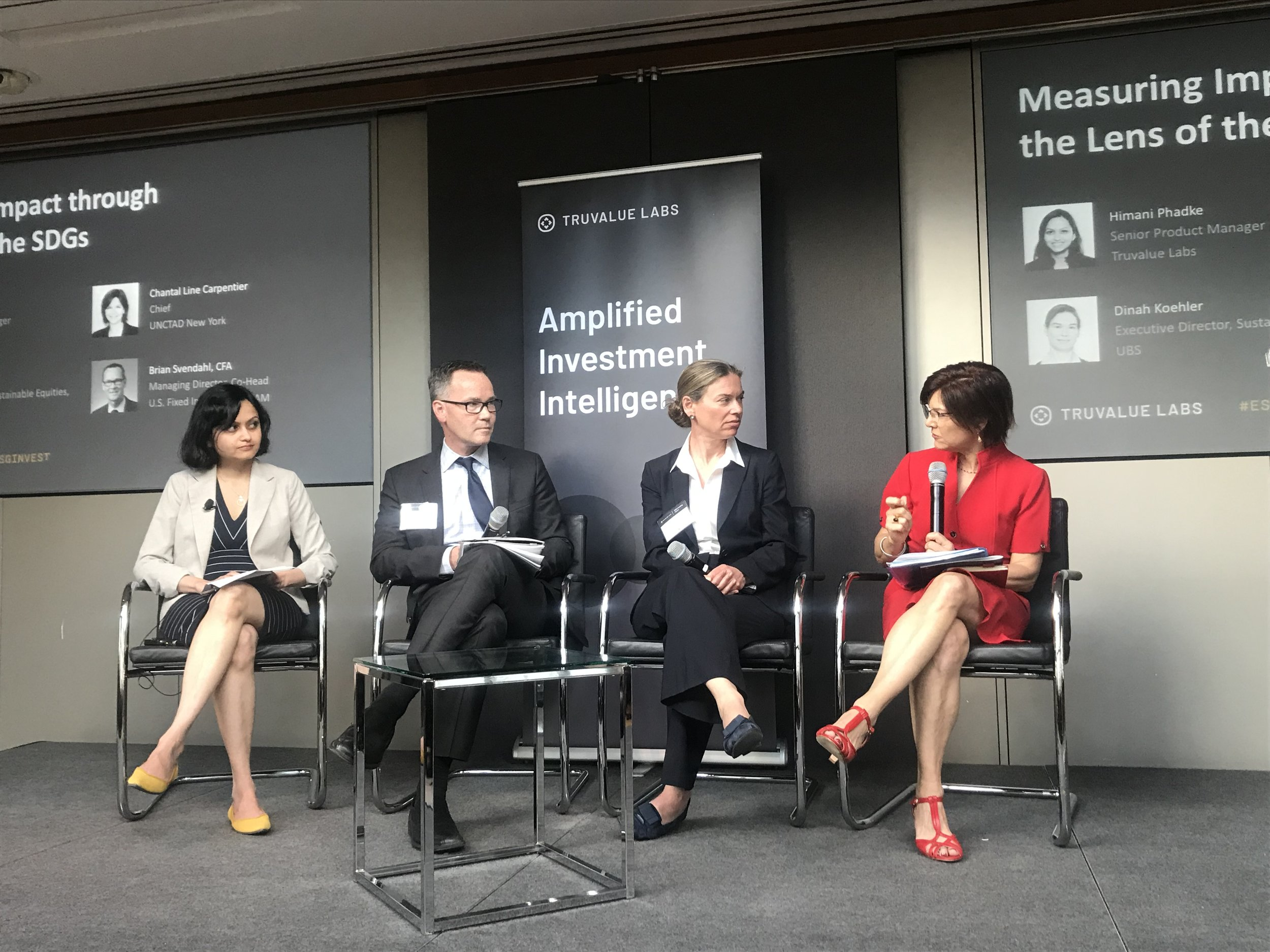 Himani Phadke, Truvalue Labs Brian Svendahl, RBC Global Asset Management Dinah Koehler, UBS Chantal Line Carpentier, United Nations Conference on Trade and Development New York