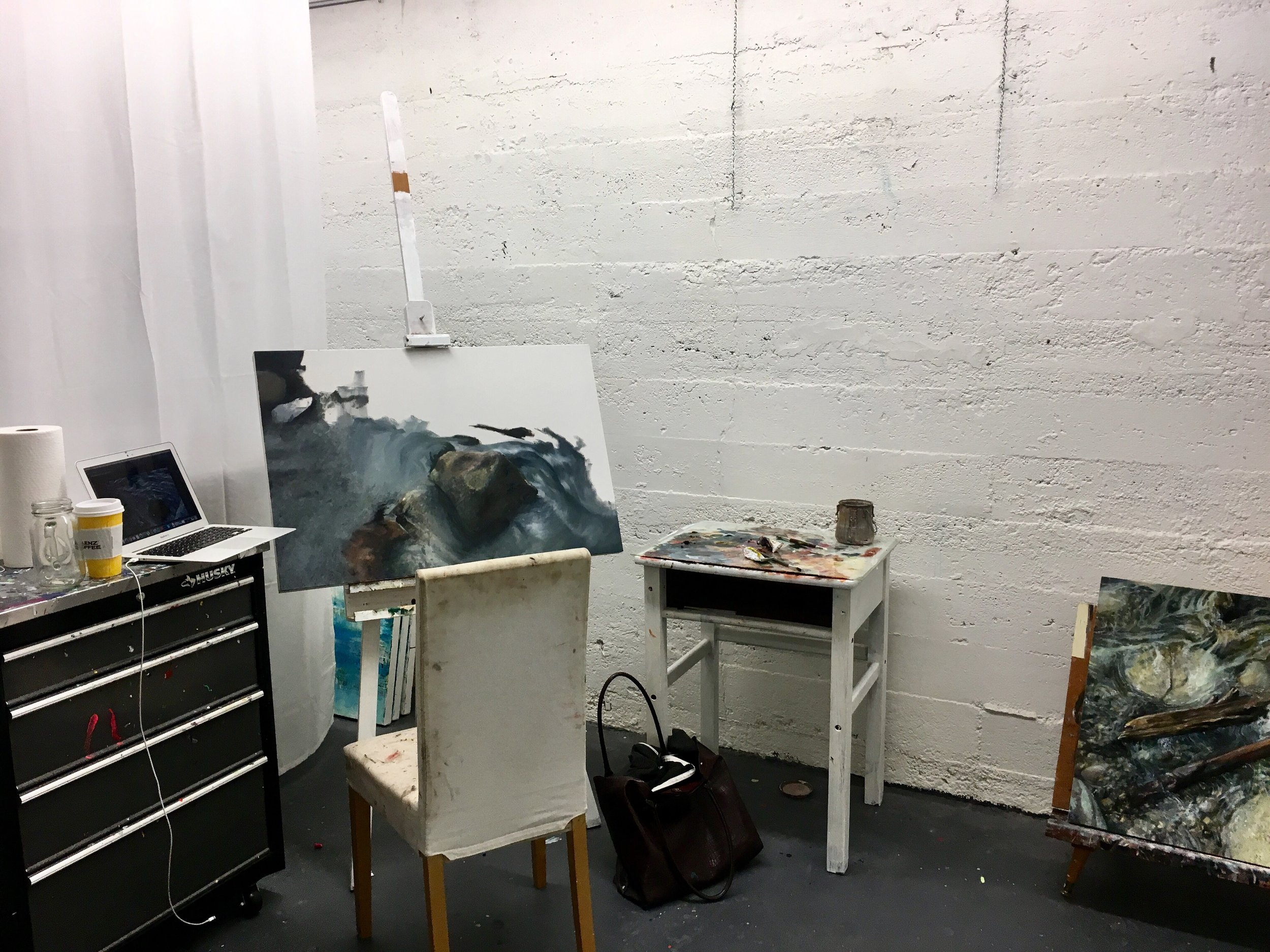 studio wip work in progress landscape oil painting westcoast yaletown realism hyperrealism female artist