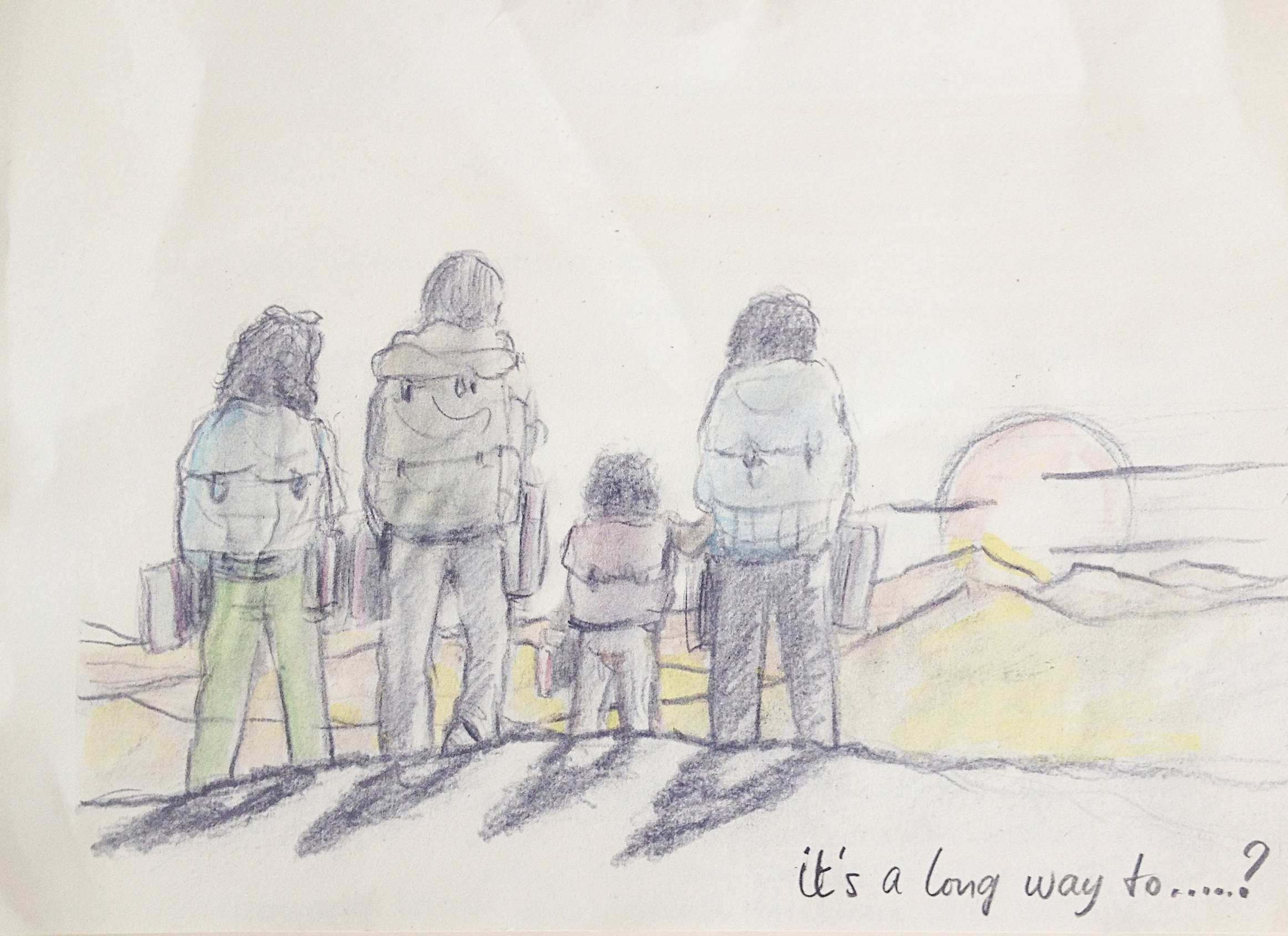 Leaving Dubai with our bagpacks, sketched by the talented and super loved Ton Bleeker  (a.k.a. grandpa)