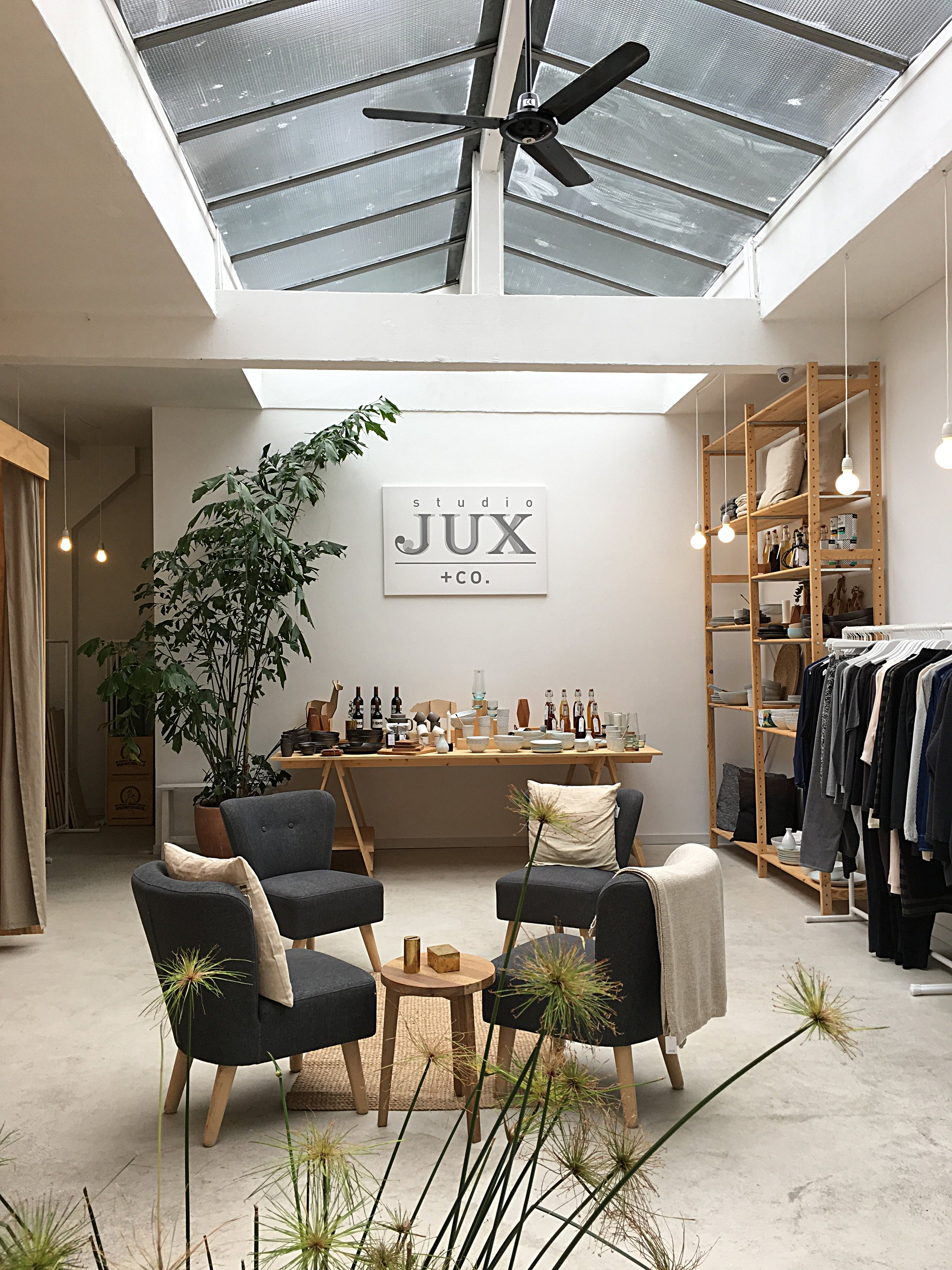 ~this store,    Studio Jux,    I will visit again. All items are fair-trade. The creme plaid from Nepal now feels at home in Brooklyn.