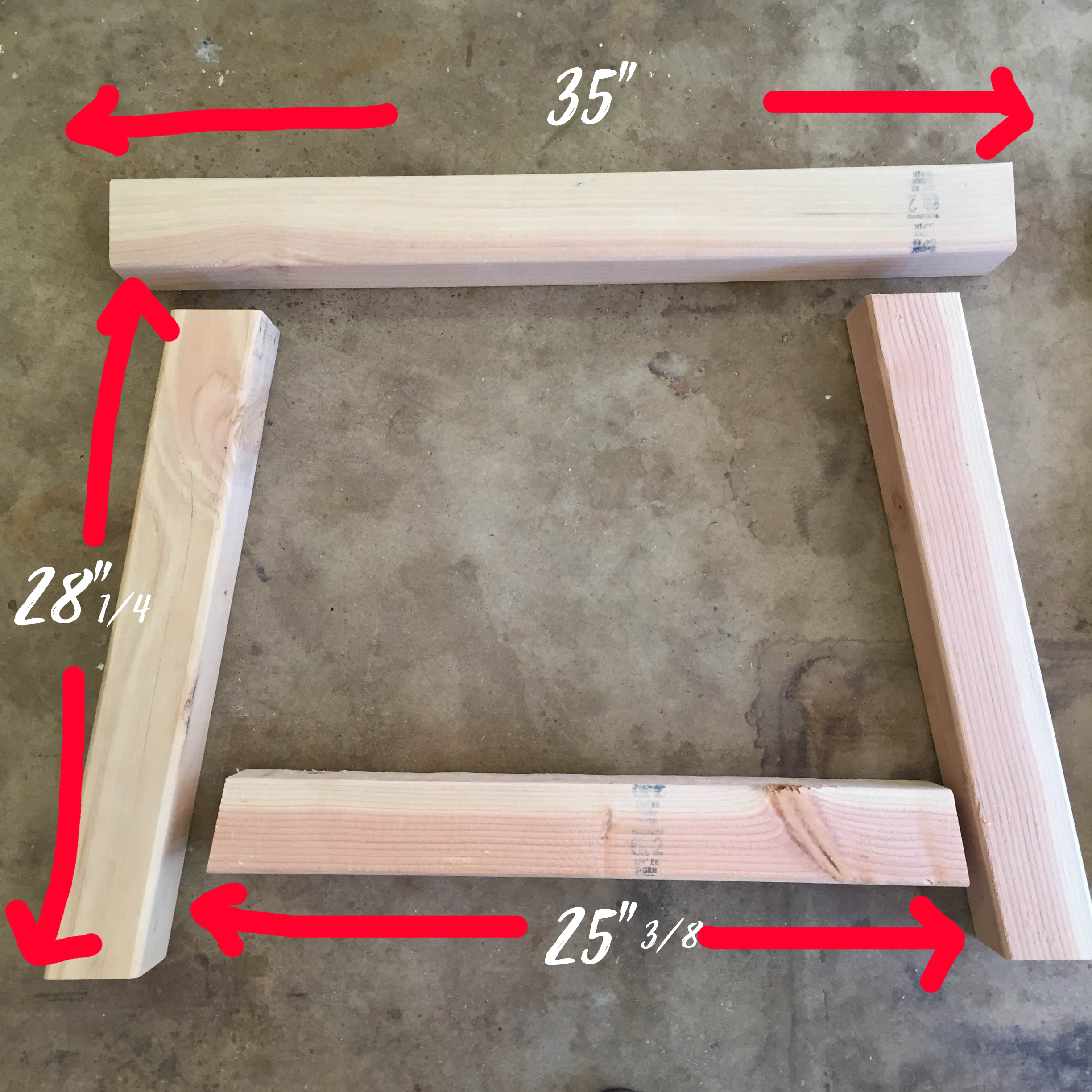"""We started by cutting the different 4x4's for the legs and the base. Above is a photo of how the legs should come together before you secure them.  ****  Note: For the 25 3/8 """" piece, ours came out to be about 2"""" above the ground."""