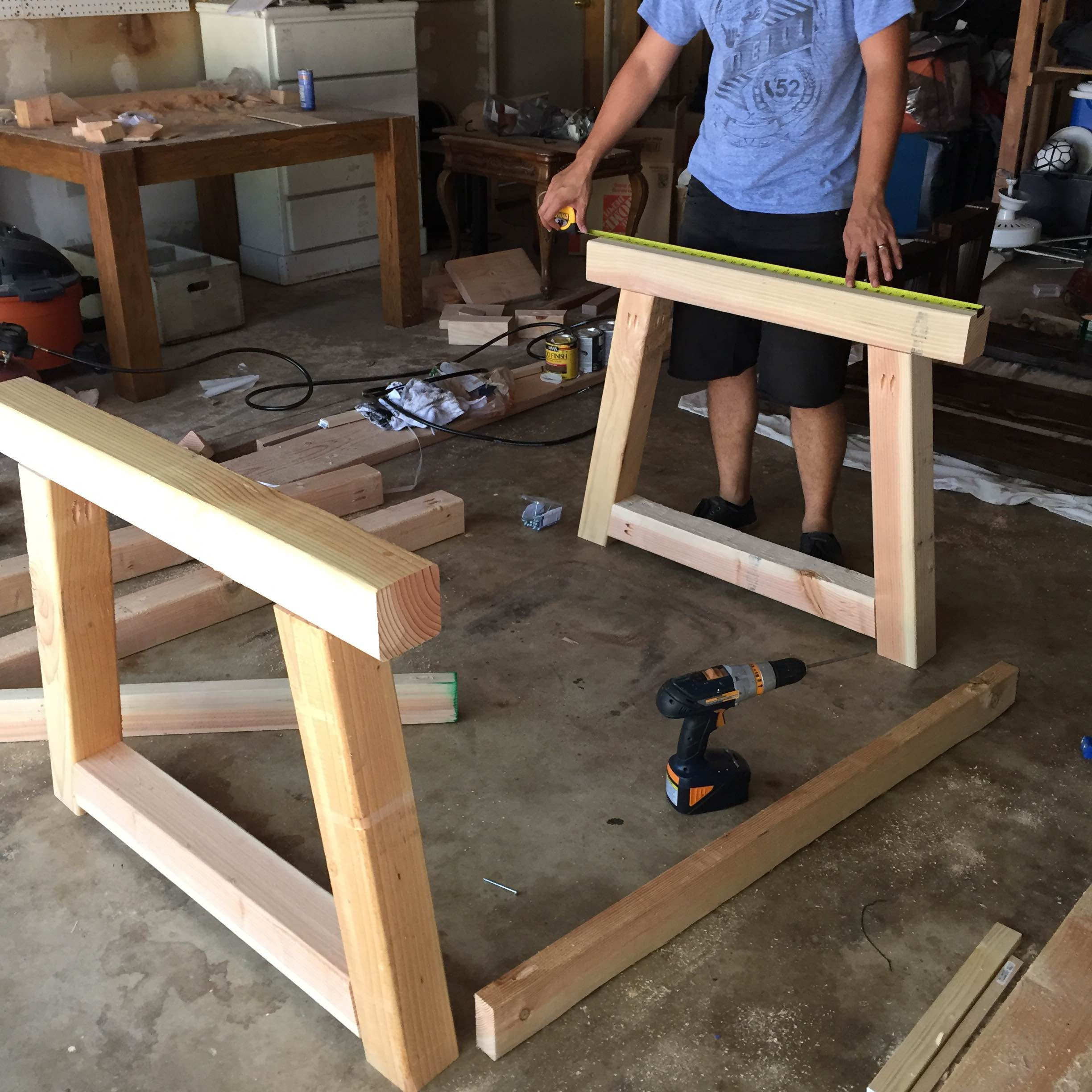 Here's a photo with both legs of the table once we attached them.
