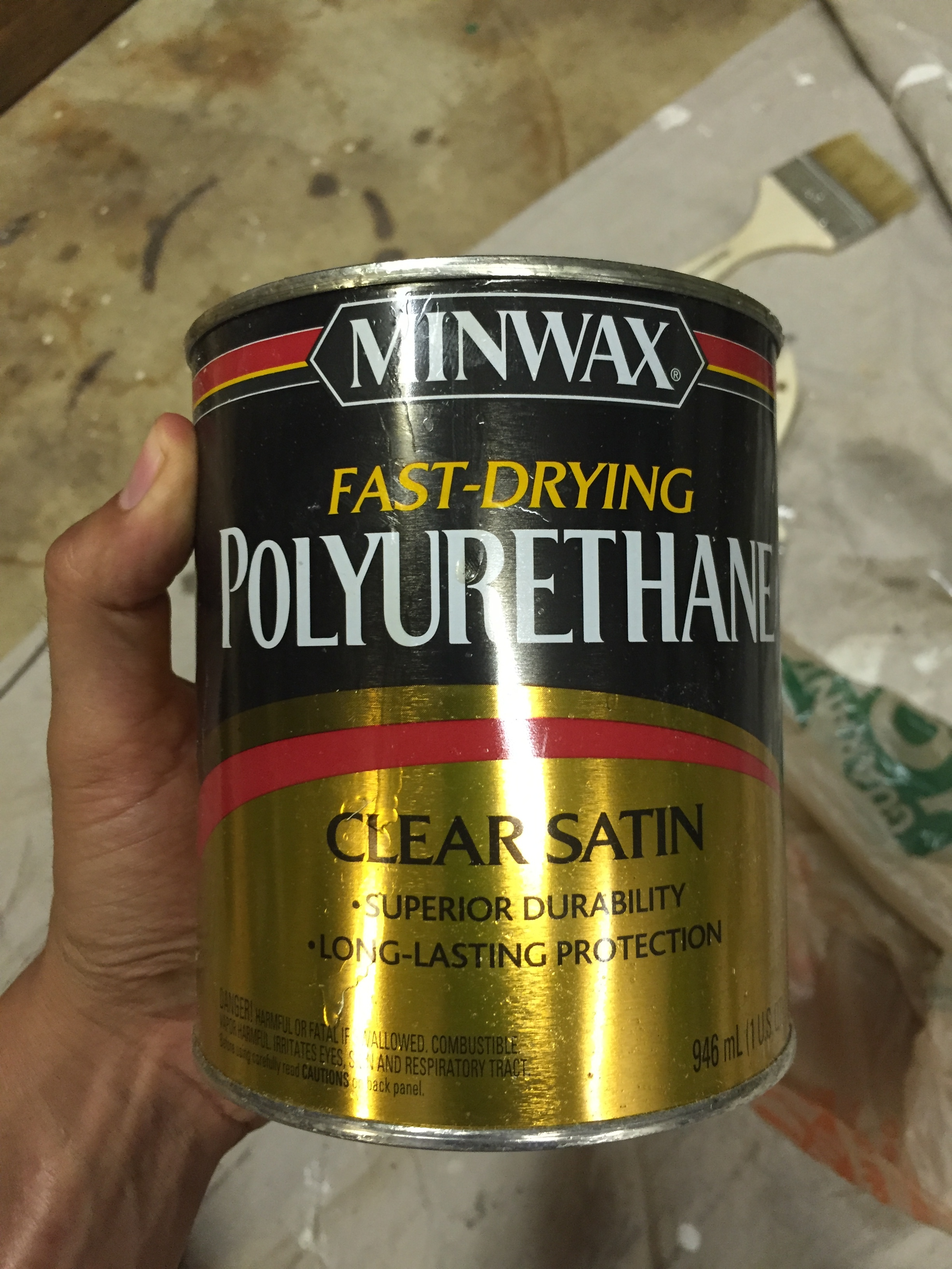 After it all dried, we put one coat of Polyurethane to seal it.