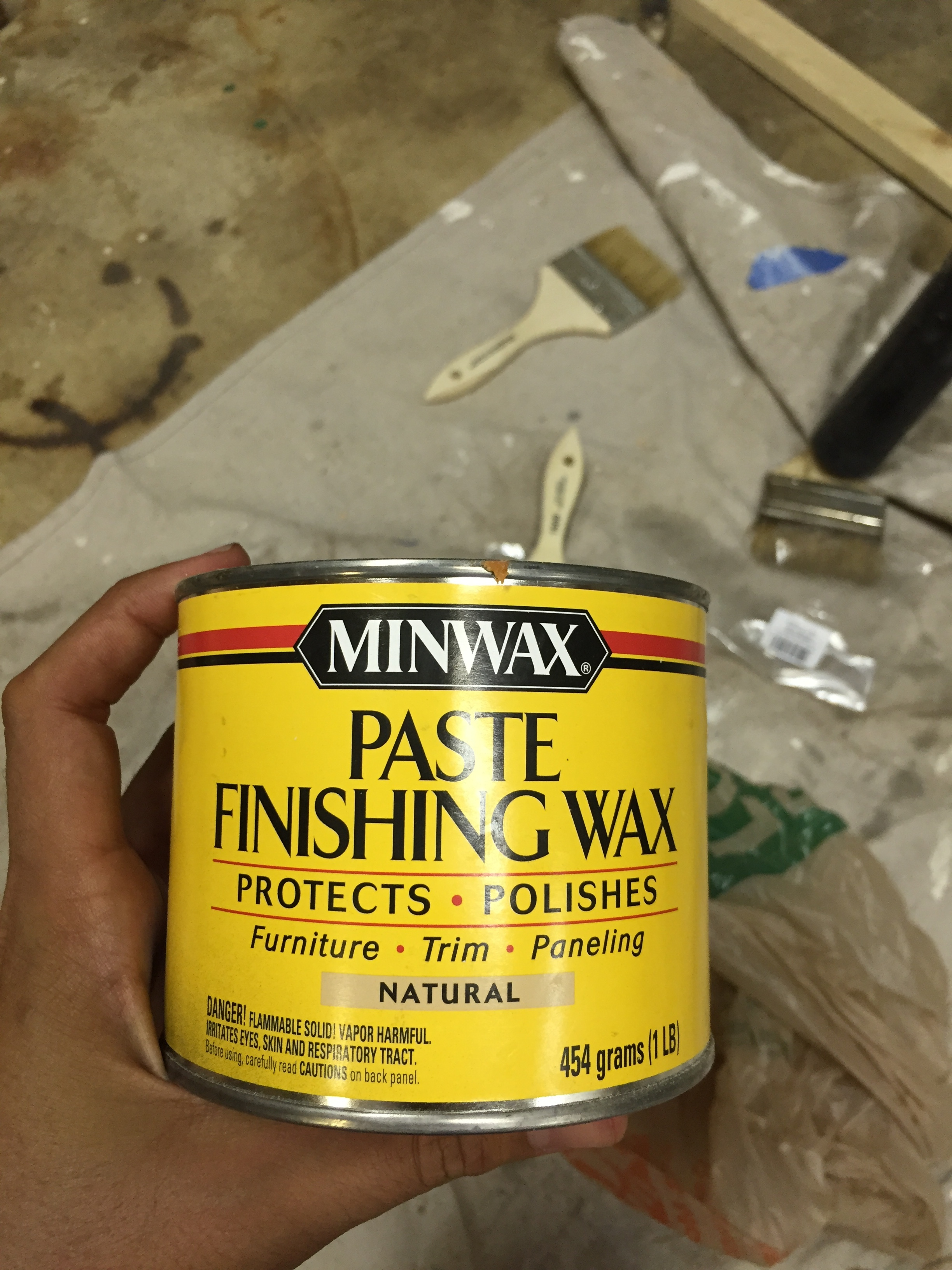 Lastly, we used this paste finishing wax only on the table top.