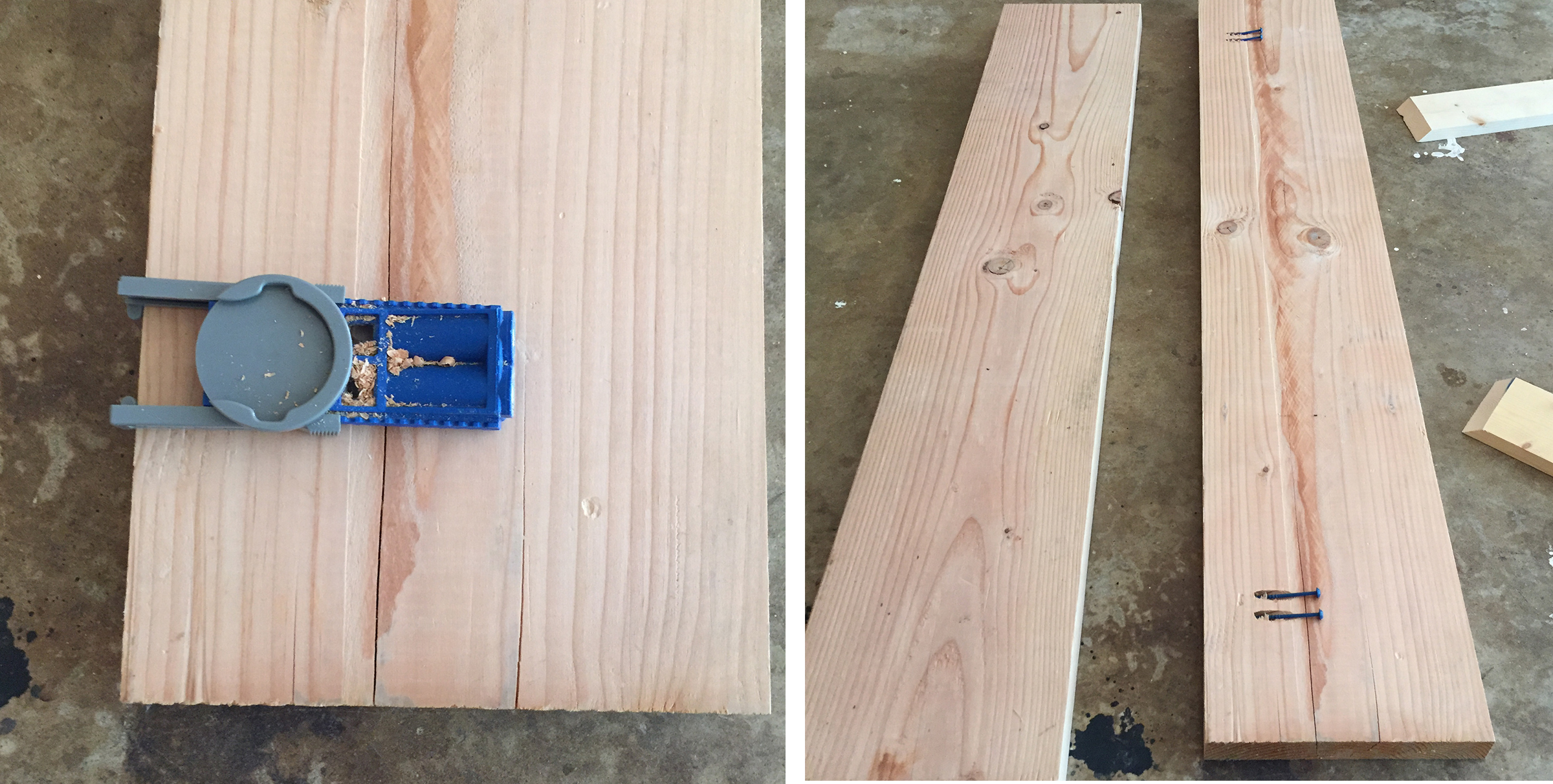 First we took both the 4ft 2x10s and used a kreg tool to drill pocket hole screws to hold the two pieces together. This will be the table top. Before we screwed the pieces together we put some Carpenters Wood Glue between the pieces to give it an even firmer hold. Once we glued it, THEN we screwed it.