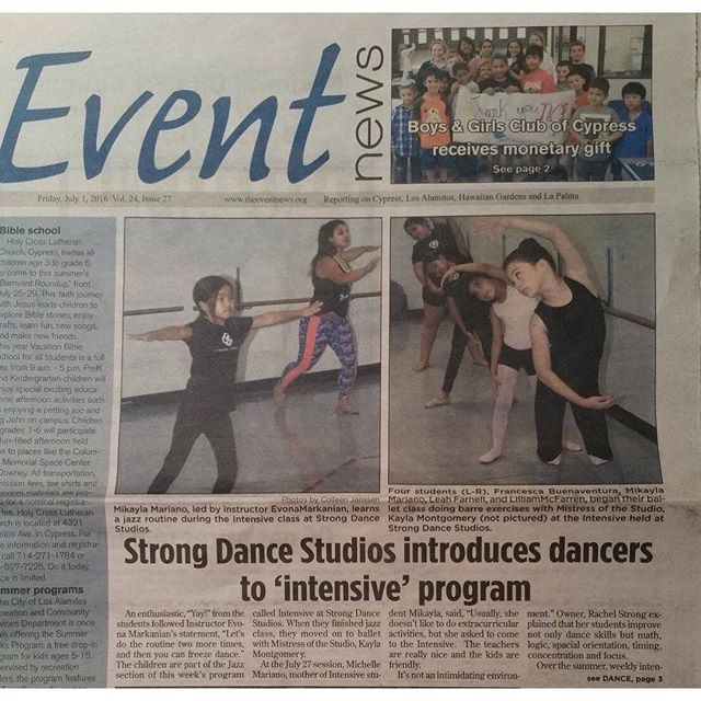 Front page! If you haven't signed up for our summer intensive do so now! Next week is our Ballet Intensive. Check it out. . . . . #strongdancestudios #summerintensive #eventnews #frontpage #SSSI206 #ballet #signup #love #dance #cypressca