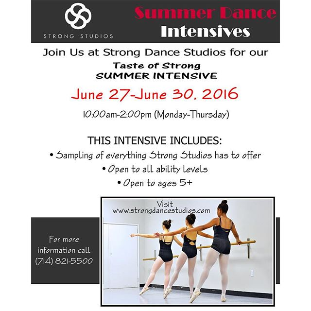 Only 5 days left to register! Contact our front desk today. #strongdancestudios #sssi2016 #summerintensive #summer #ballet #tap #hiphop #fun #love #joinus #registernow #cypressca #dancestudio #confidentkids #SDSSI2016