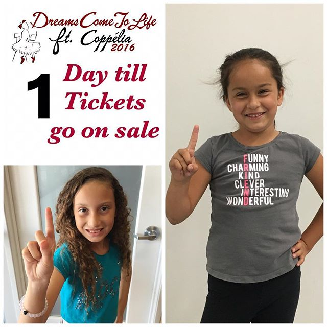 Miss Hailey and Miss Camille want you to know there is only one day left till tickets go on sale. #countdown #dreamscometolife #strongdancestudios #ticketsales #onedayleft #getyours #facebook #instagram