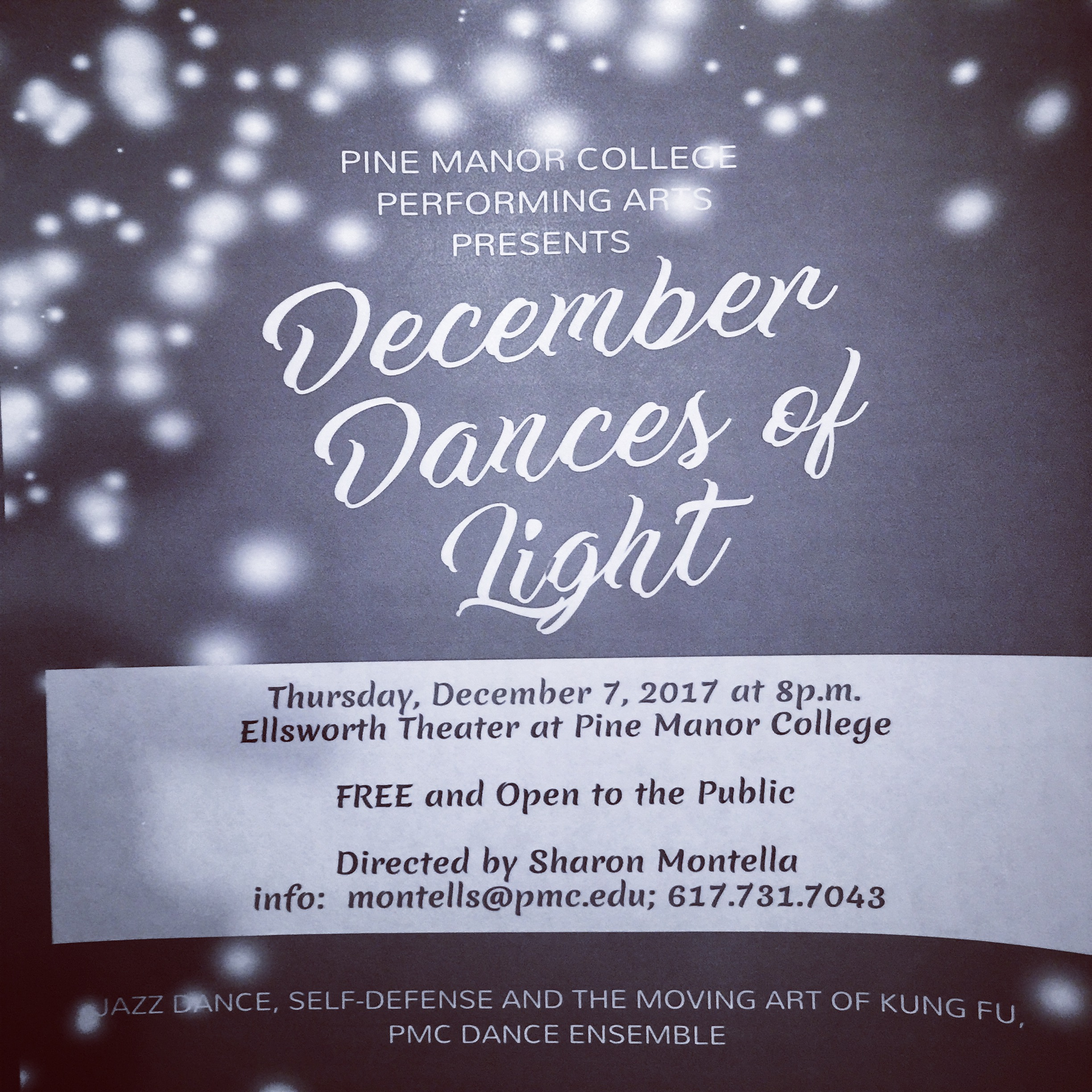 See Dangerous Brood perform in 'December Dances of Light' at Ellsworth Theater at Pine Manor College. Featuring PMC dance classes, Dance Ensemble, Dance Ensemble Alumnae Carline Kirksey, Legacy Guinyard, Karm Syndia and Guest Artists Abilities Dance (artistic dir. Ellice Patterson, 'A' Major Dance Company, CreationDance (artistic dir. Helena Froehlich), Dangerous Brood (artistic dir. Sharon Montella), Sarah Donahue, IntrigueBoston Heart Ent (artistic dir. LaRissa Patterson), Courtney LeBlanc from Stonehill College and Margaux Skalecki. FREE and open to the public