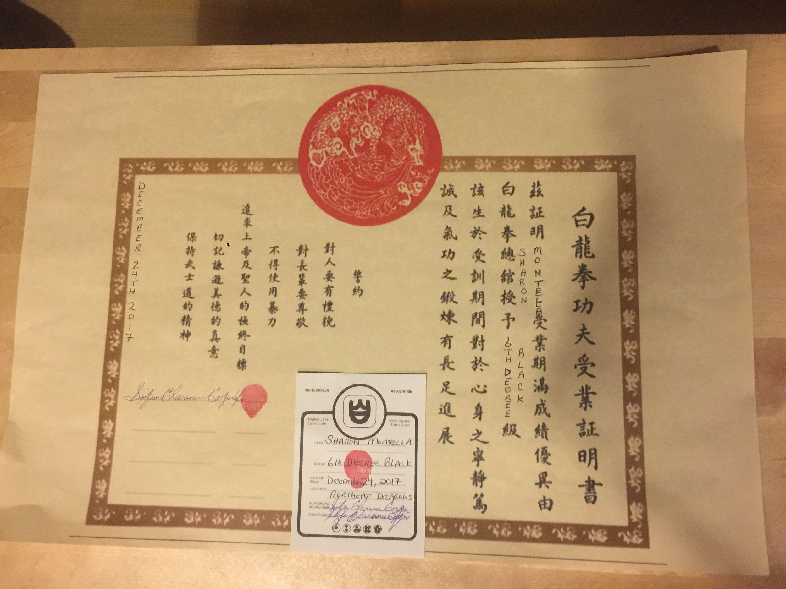 6th Degree Black Belt Certificate - Northeast Dragons Pai Lum - Sifu Sharon Montella.jpg