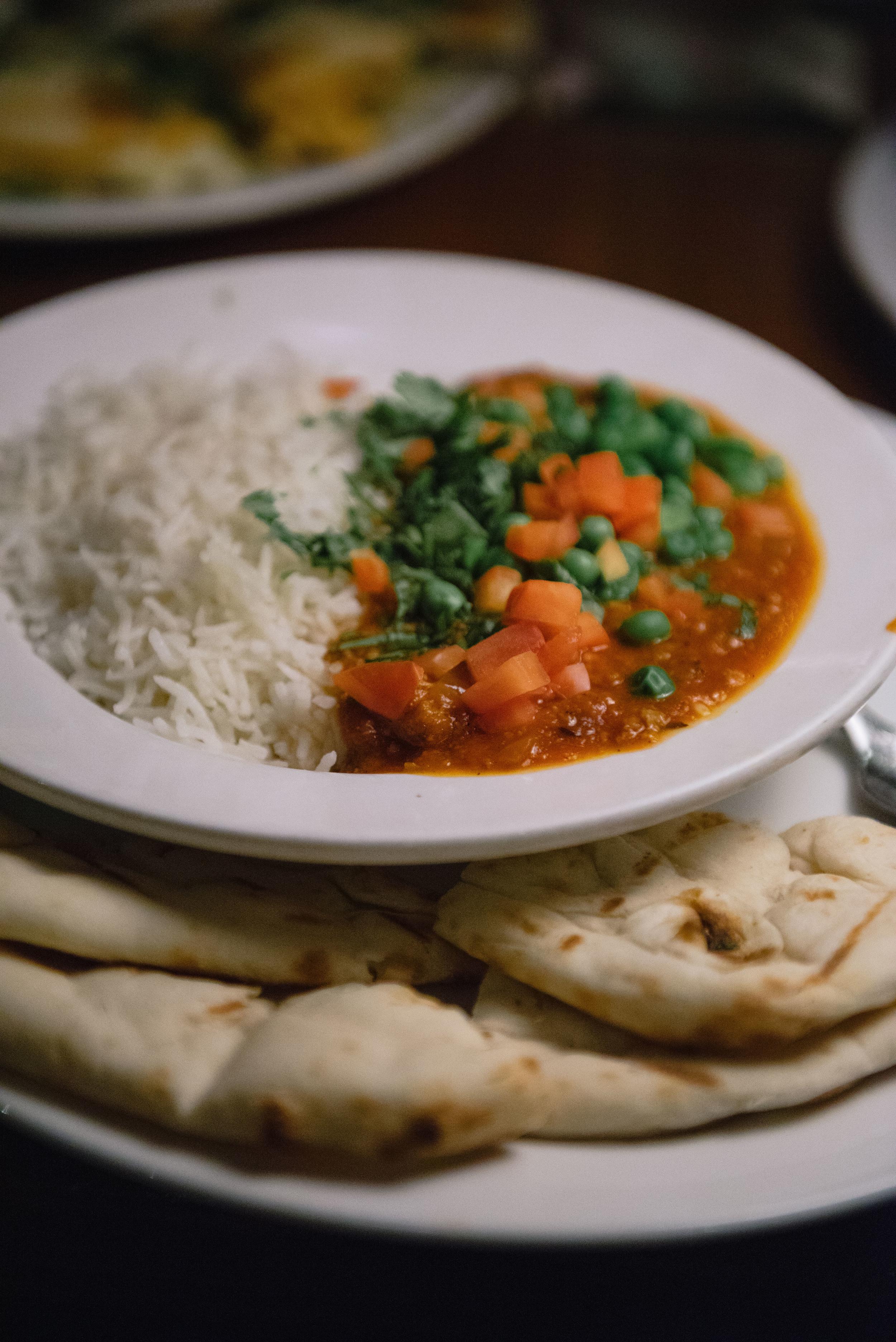 Minced Lamb Keema with Rice and Naan