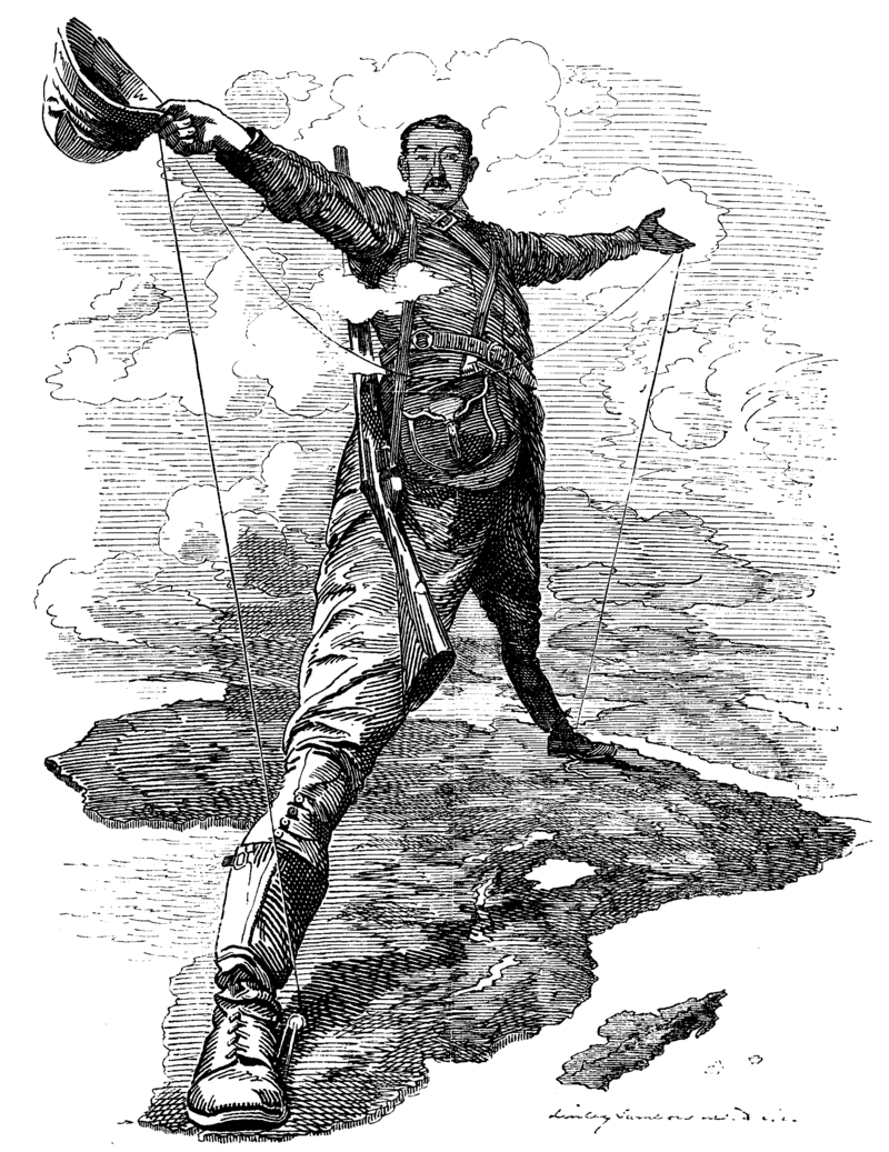 """The  Rhodes Colossus, Cecil Rhodes spanning """"Cape to Cairo."""""""