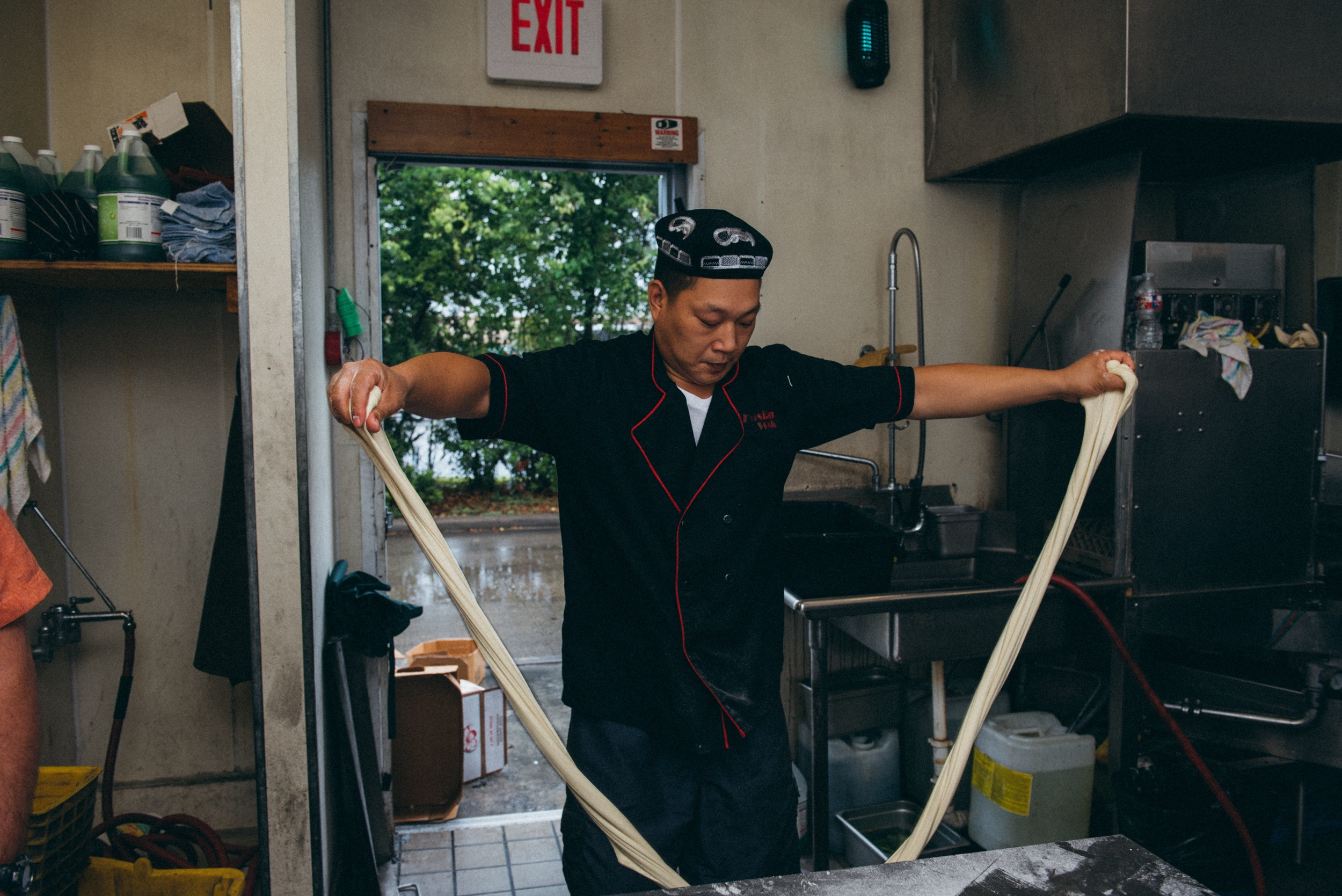 "3.  The dough is impressively stretchy.  This ""rope"" of dough is about eight feet long!"