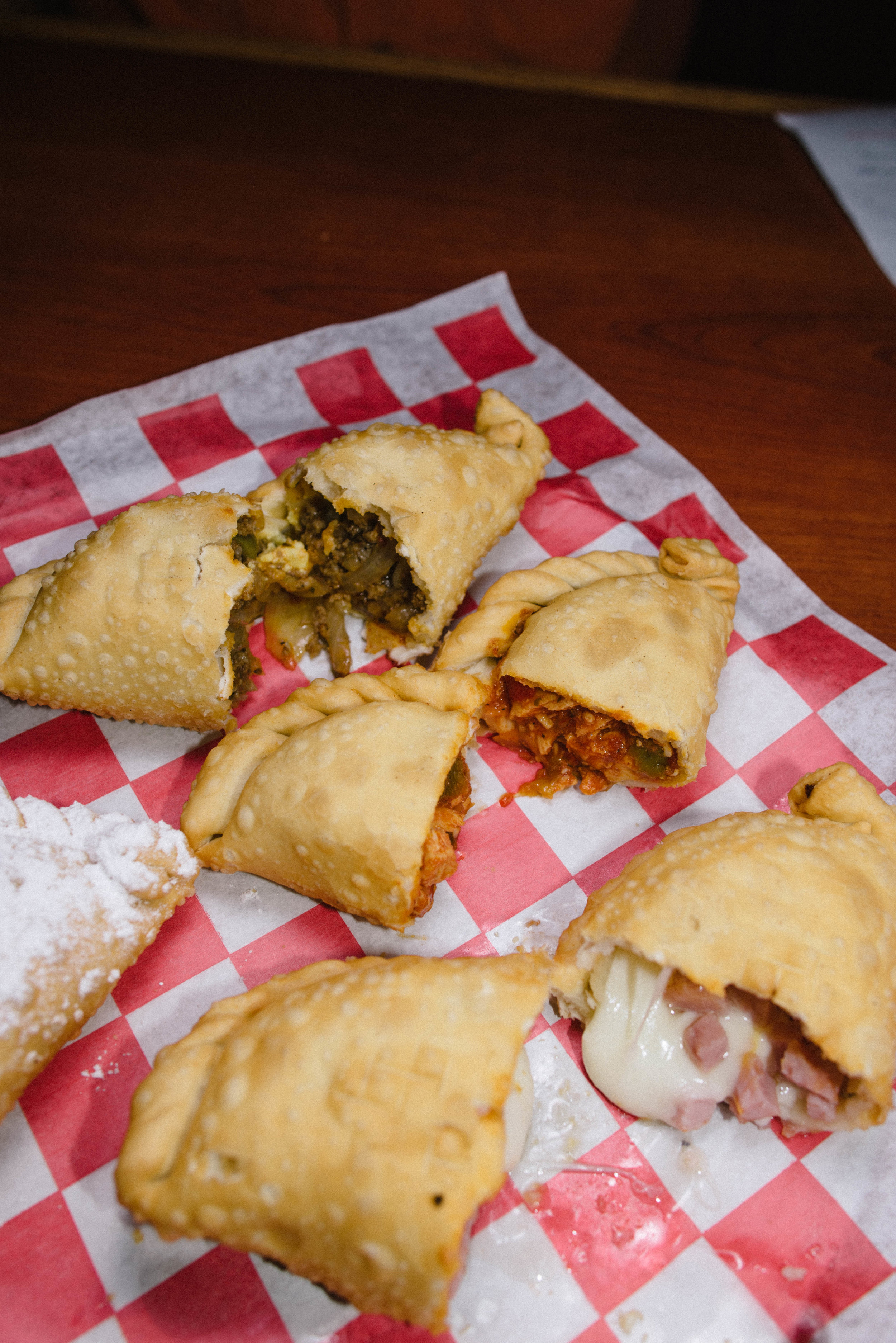 Beef Gaucho and Chicken Diablo are traditional Empanadas.  The Ham and Cheese is just comfort food.