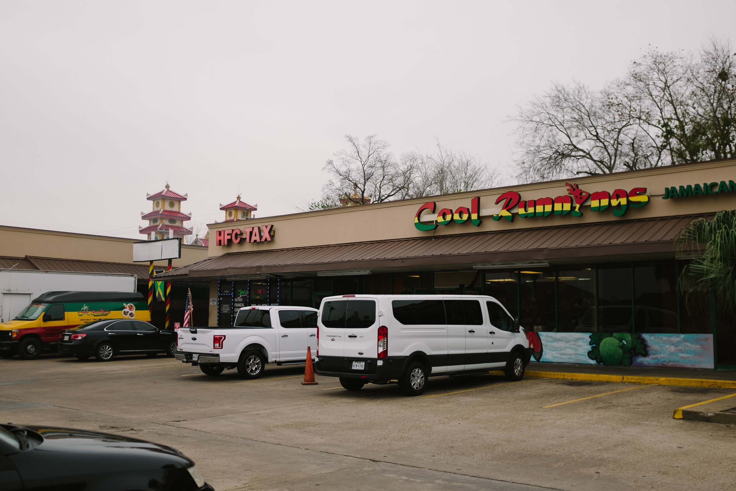 Cool Runnings is the hub of Jamaican activity in Houston.  The looming towers of the Cao Dai Temple (the largest temple in North America representing this native Vietnamese religion) betray the diversity of this southwest Houston neighborhood.