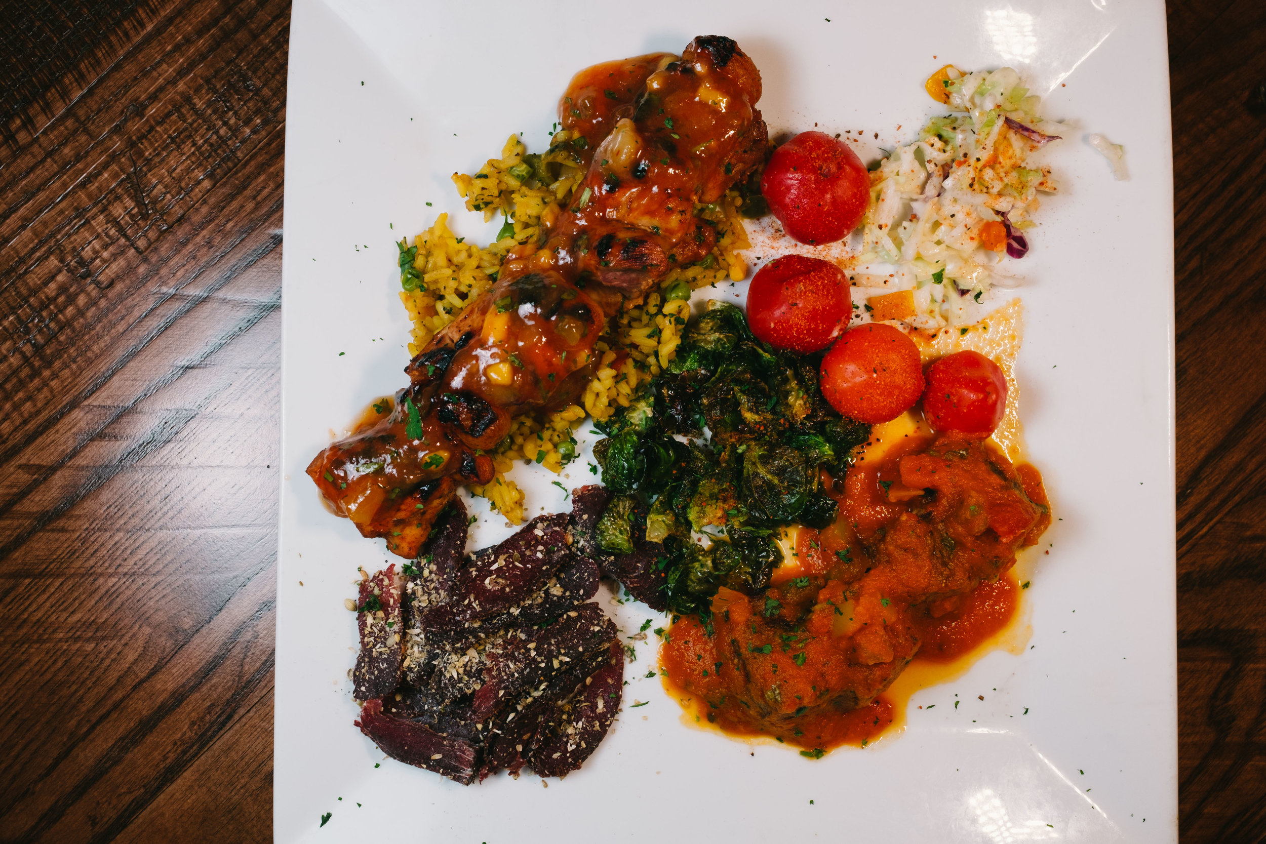 If you can't make up your mind, try the sampler which comes with Biltong, Boerewors, Sosatie, and Peppadews