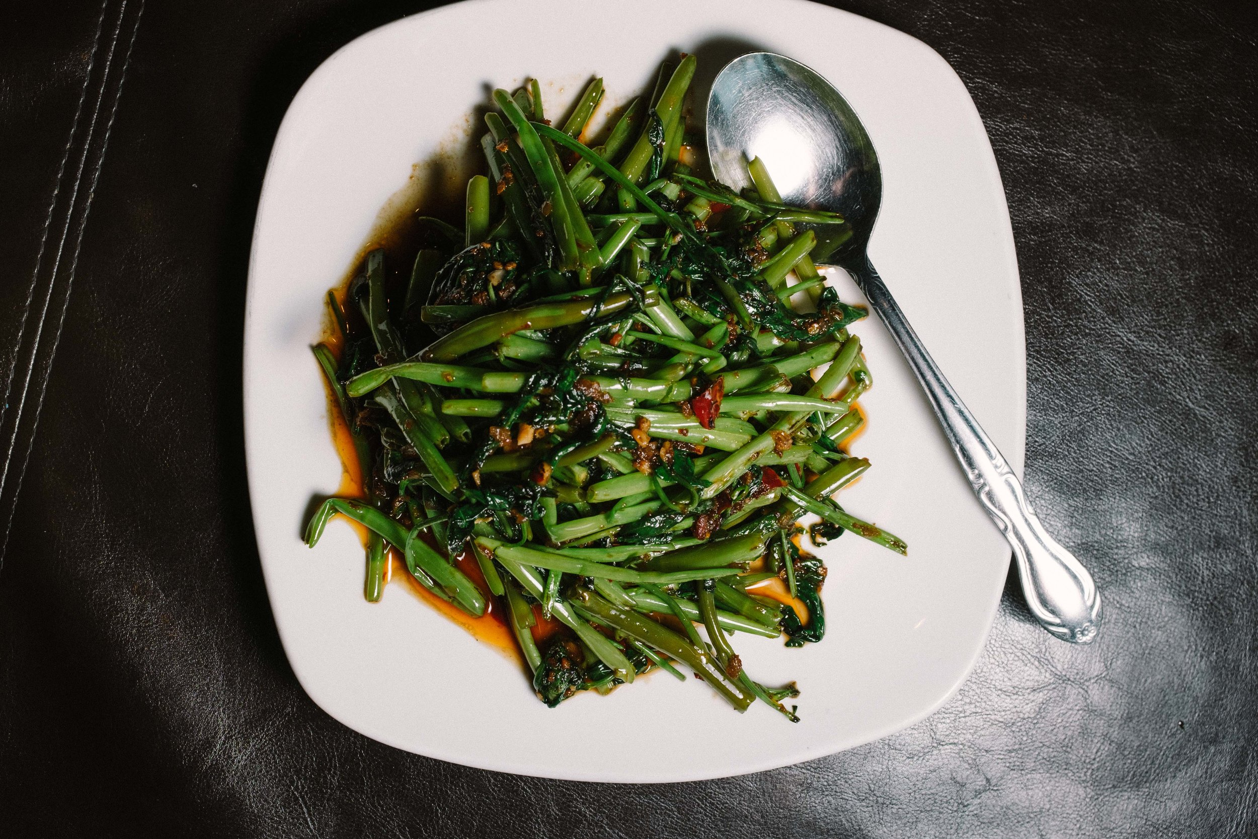 """When we ate the sautéed water spinach we all said the same thing """"This is what every vegetable should taste like."""