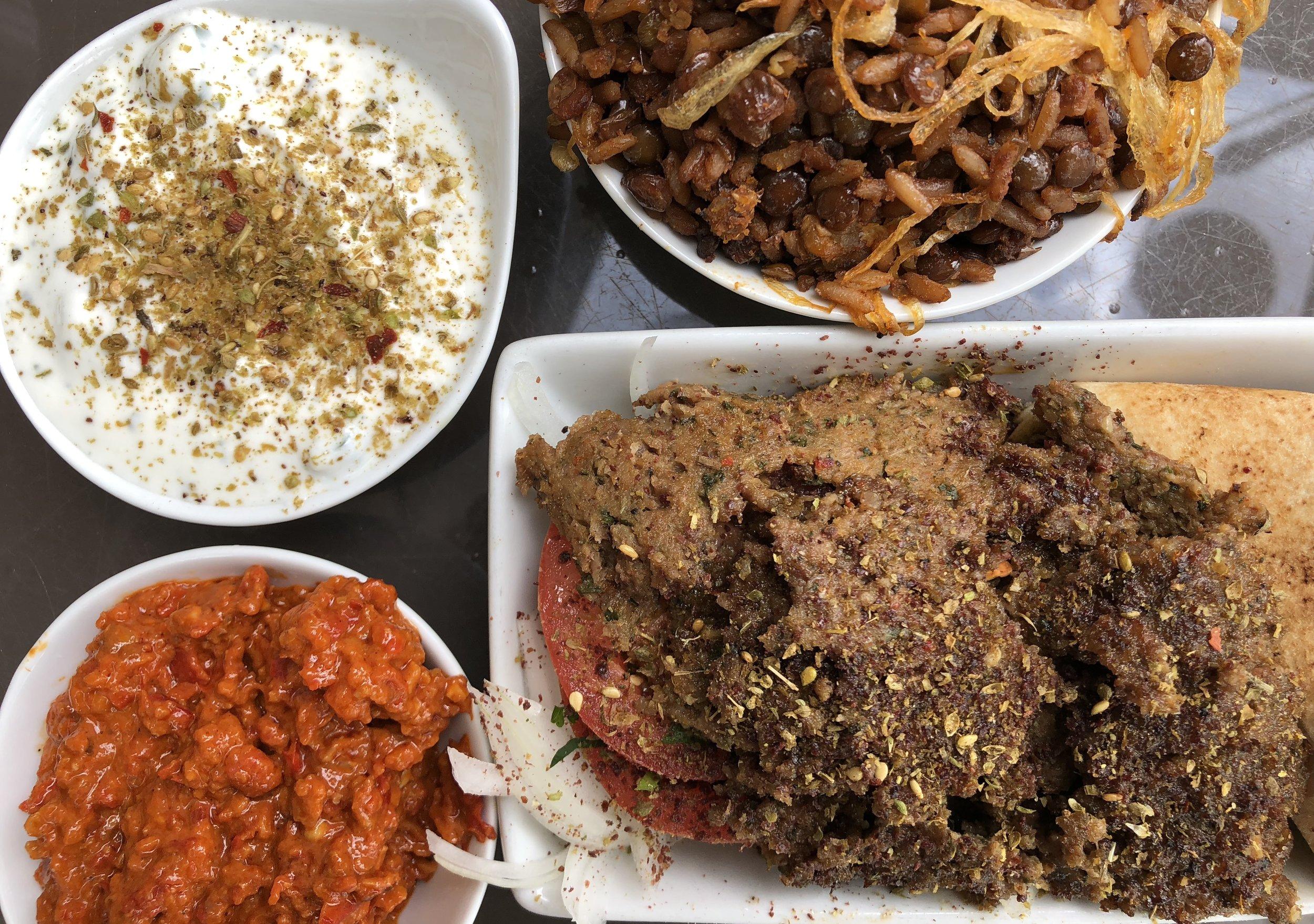 Arpi's Deli: Shawarma platter with lentils, eggplant dip and yogurt. Delicious!