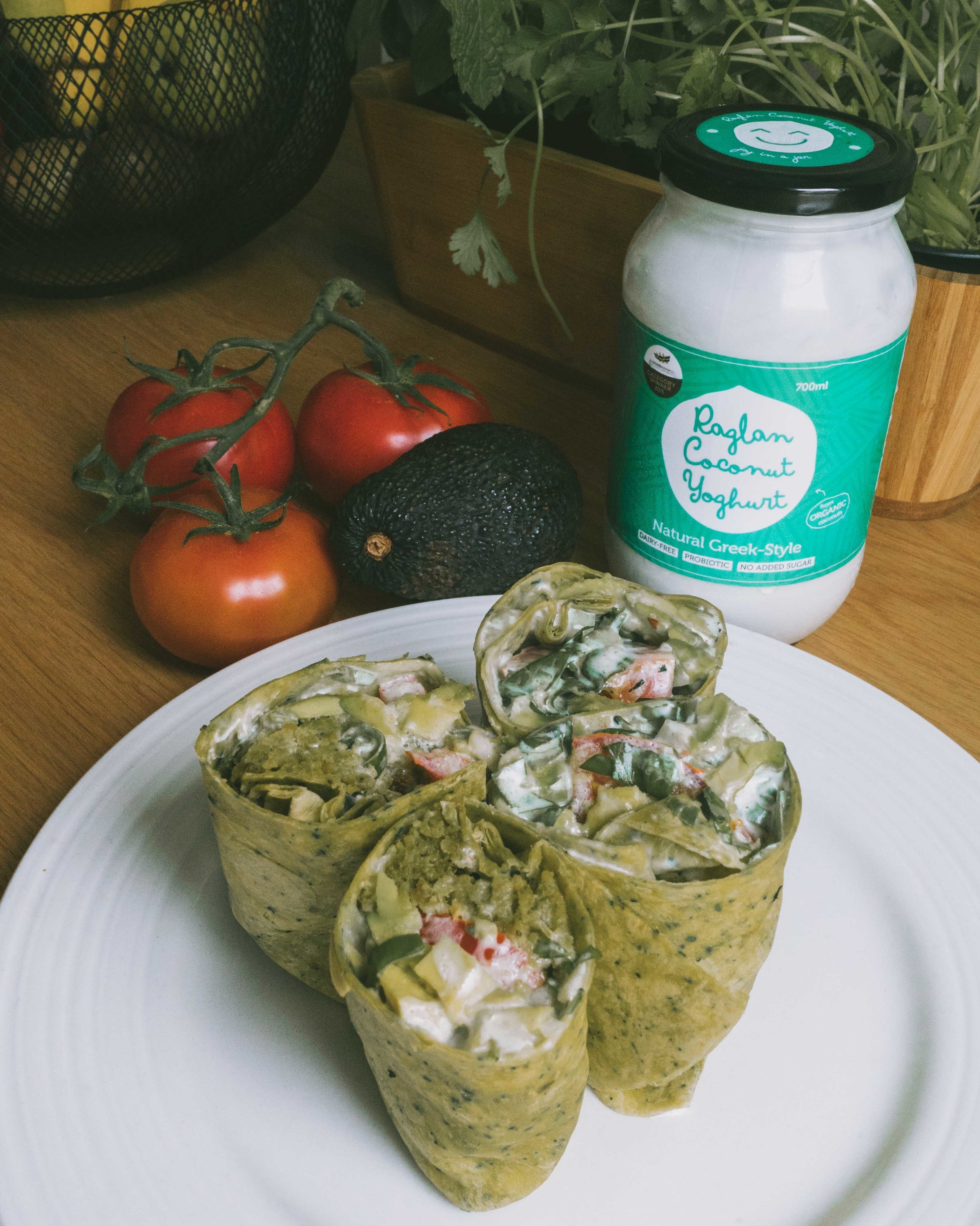 Falafel wraps with the Greek-Style yoghurt made into a tzatziki sauce.