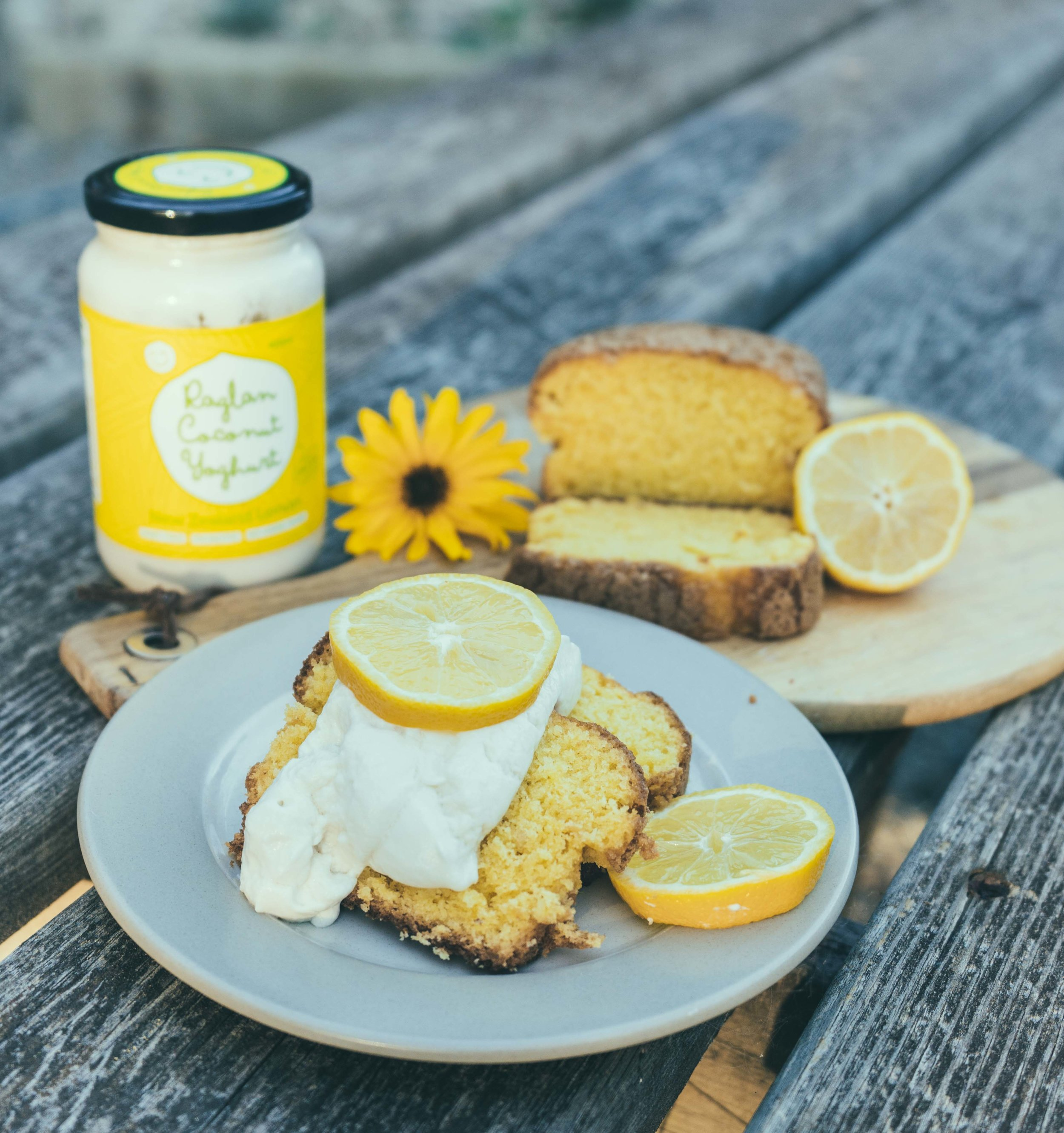 Vegan Lemon Bread topped with the Lemon Raglan Coconut Yoghurt