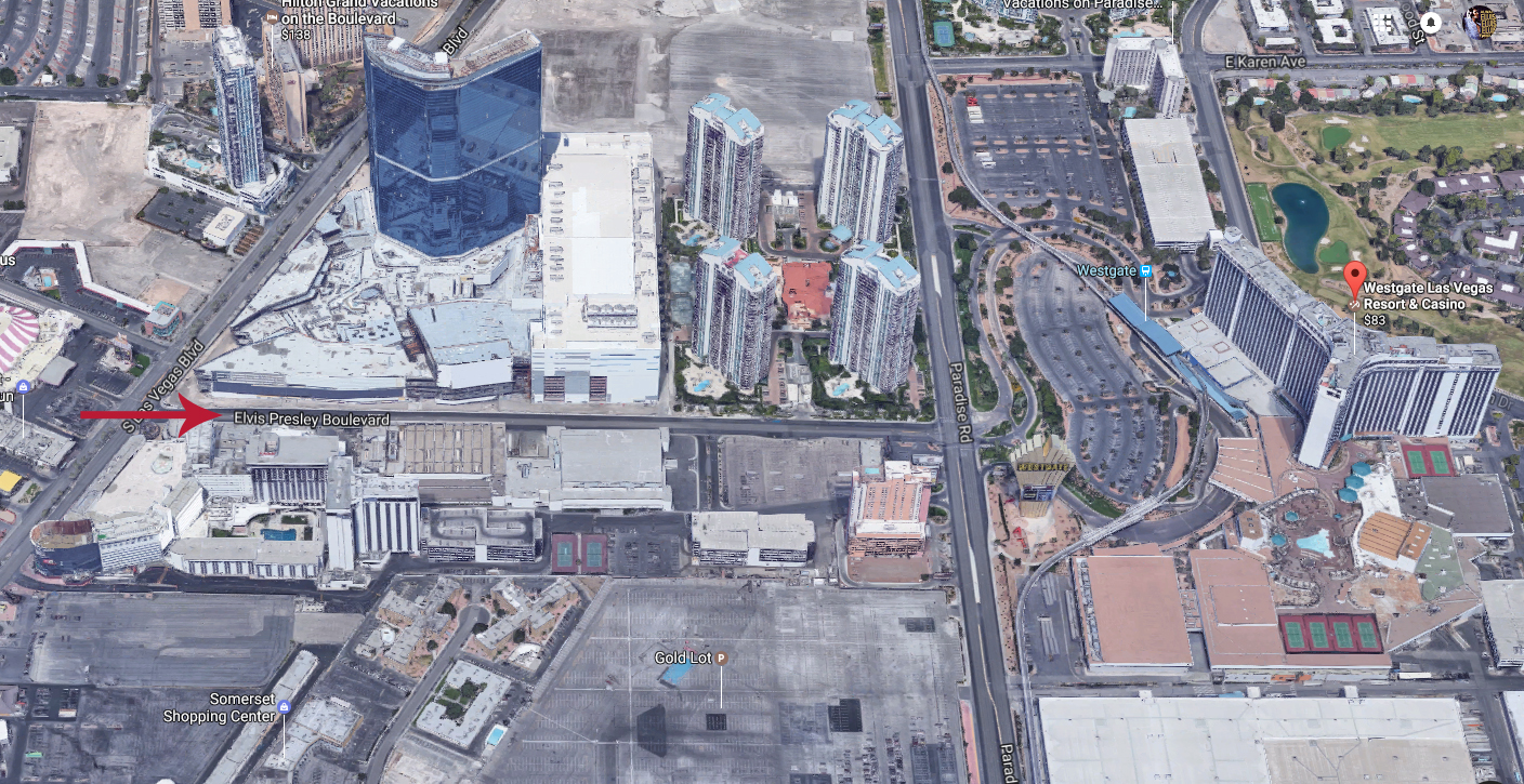 """Red arrow shows location of renamed """"Elvis Presley Boulevard"""". Street goes from Las Vegas Boulevard to Paradise Road to location of former Las Vegas Hilton now known as the Westgate Las Vegas Resort."""