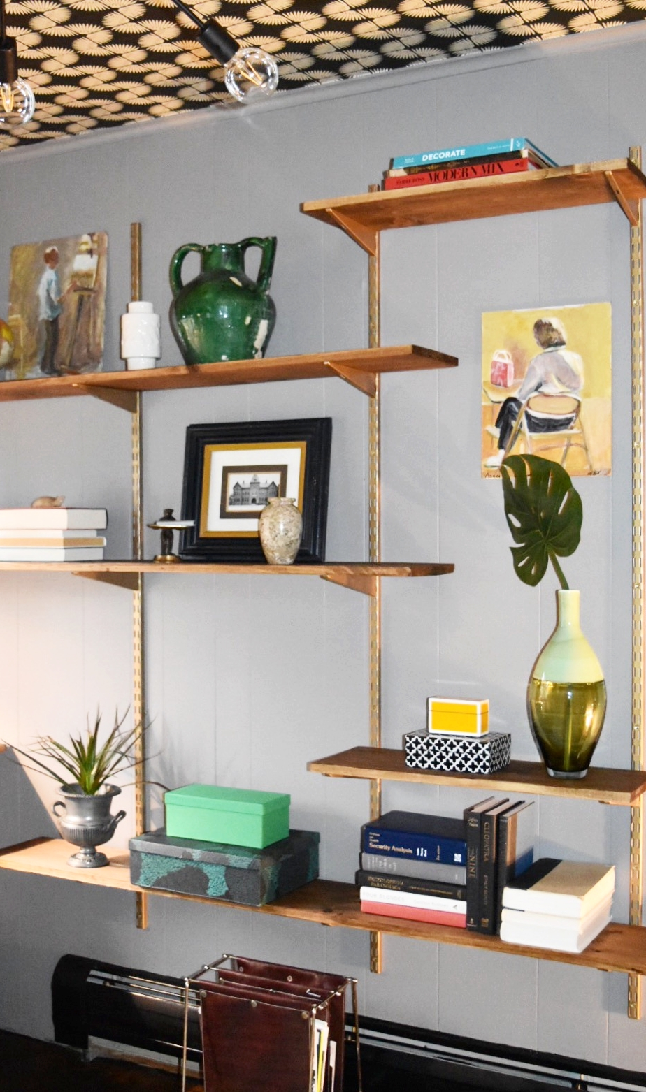 Our DIY version of a mid mod shelving unit