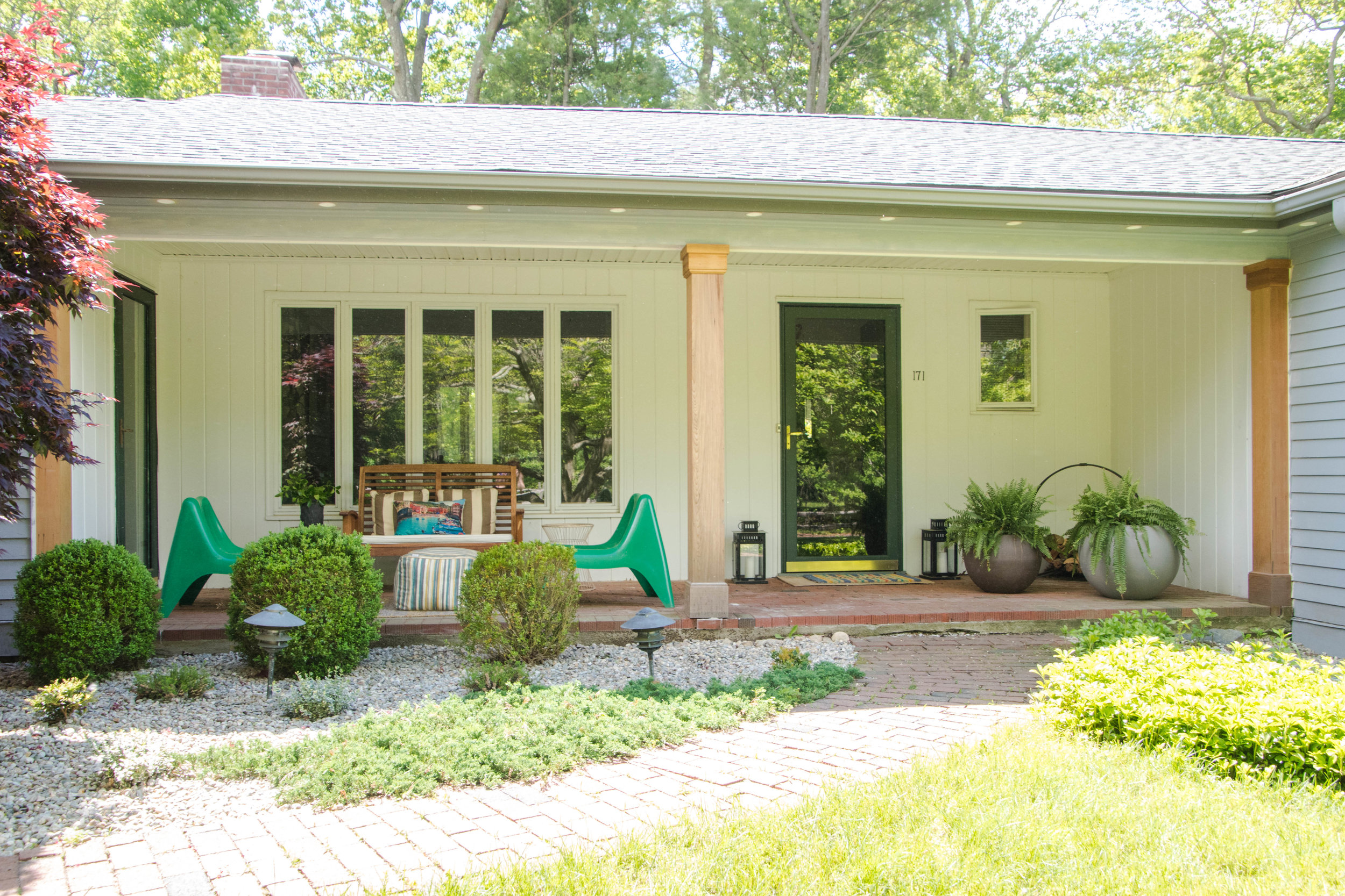 modern midcentury ranch exterior entrance walkway planters seating therathproject