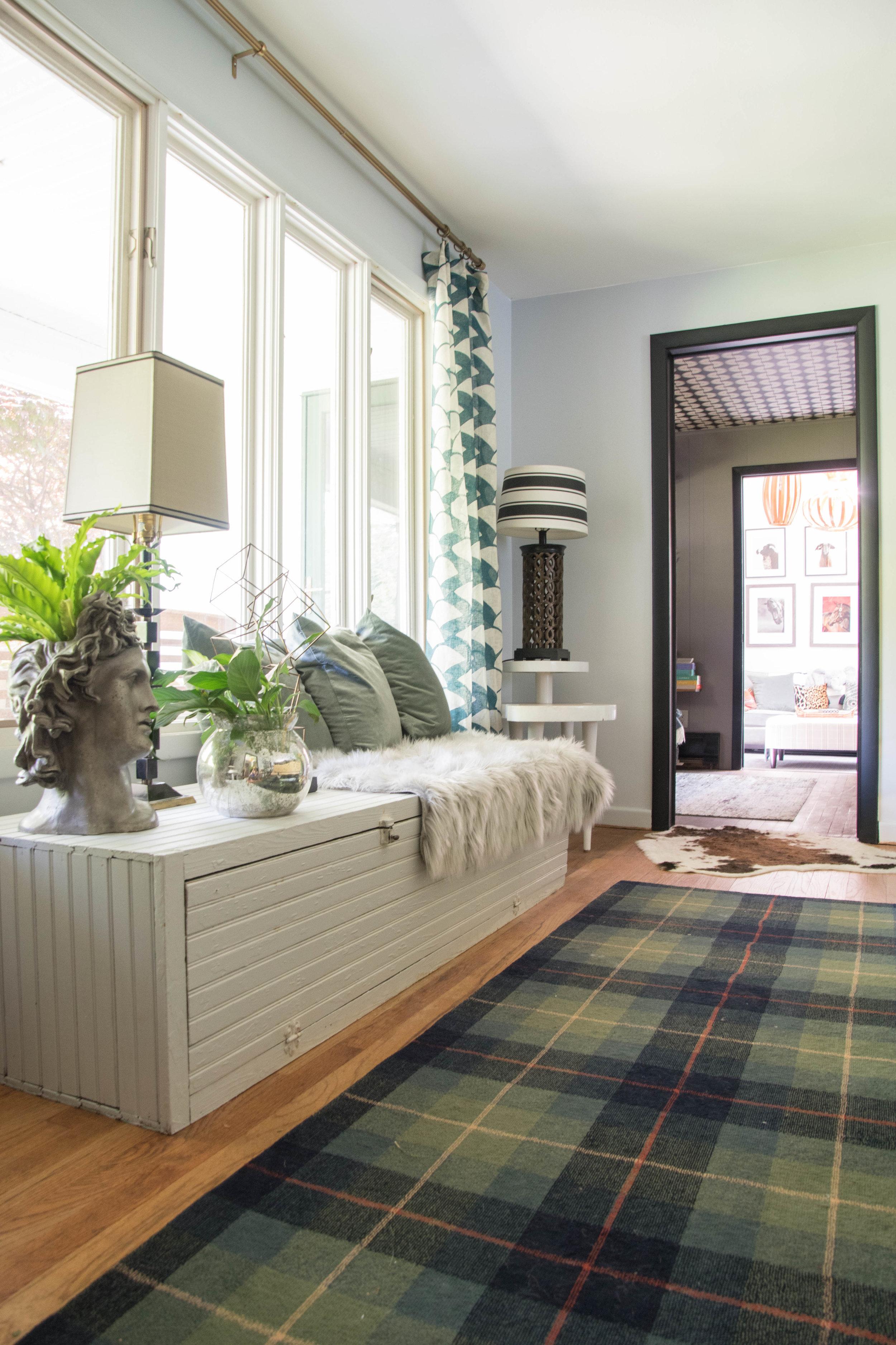 eclectic modern midcentury vintage living room plaid rug bench