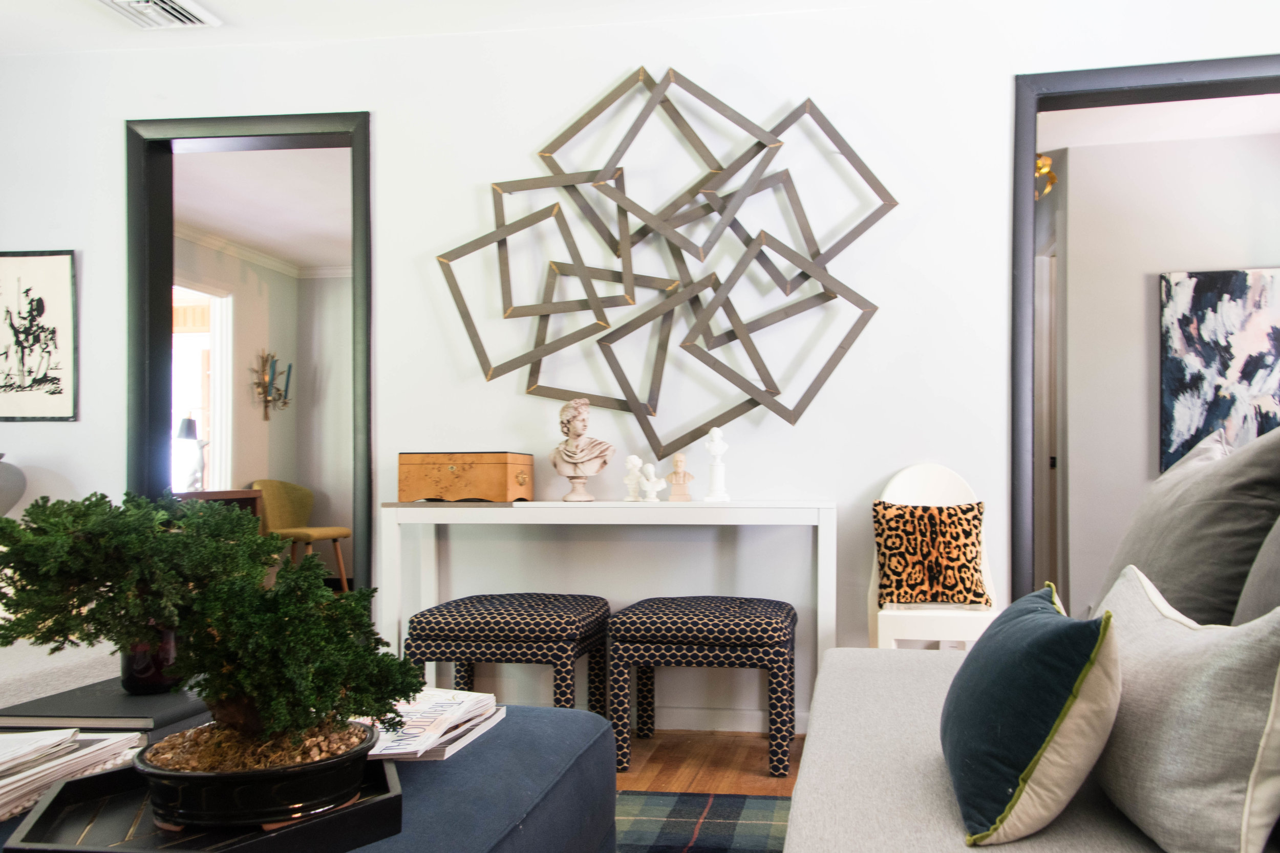 modern midcentury geometric sculptural metal art living room therathproject