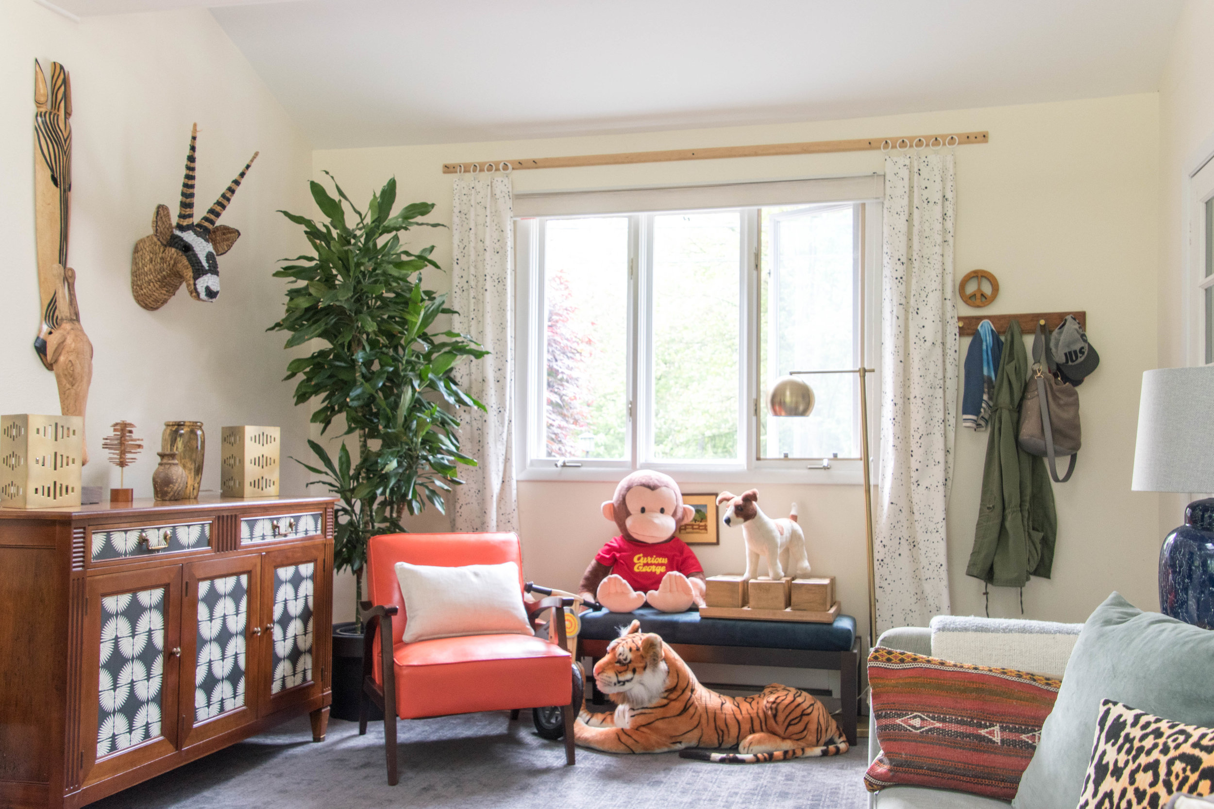modern eclectic midcentury kids playroom diy remodel therathproject