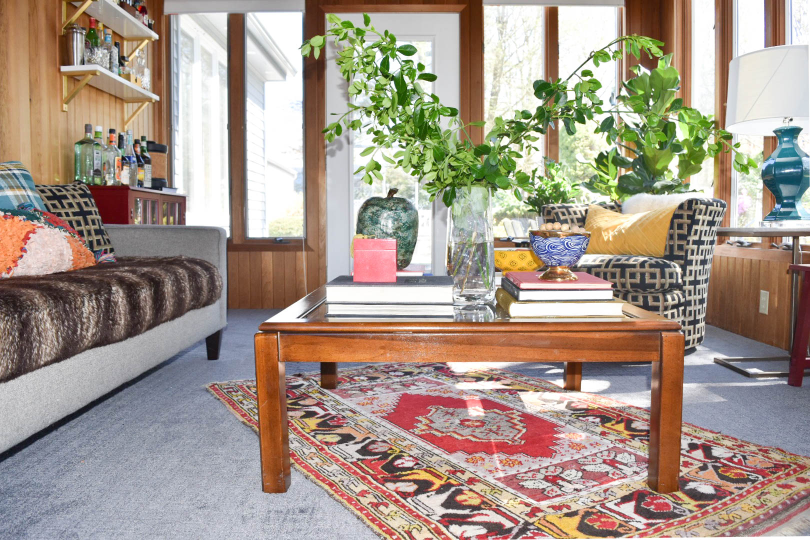 modern eclectic midcentury patterned colorful collected vintage bar sunroom remodel therathproject