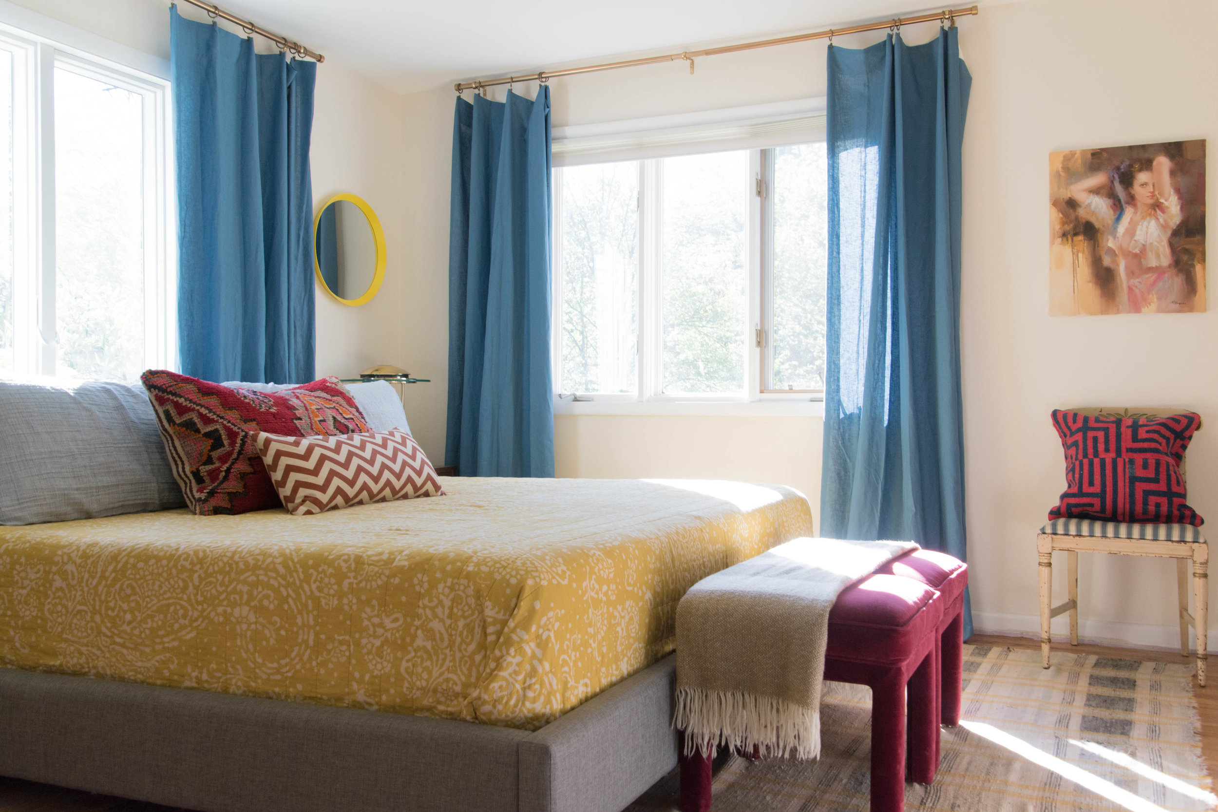 modern eclectic patterned colorful vintage master bedroom remodel therathproject
