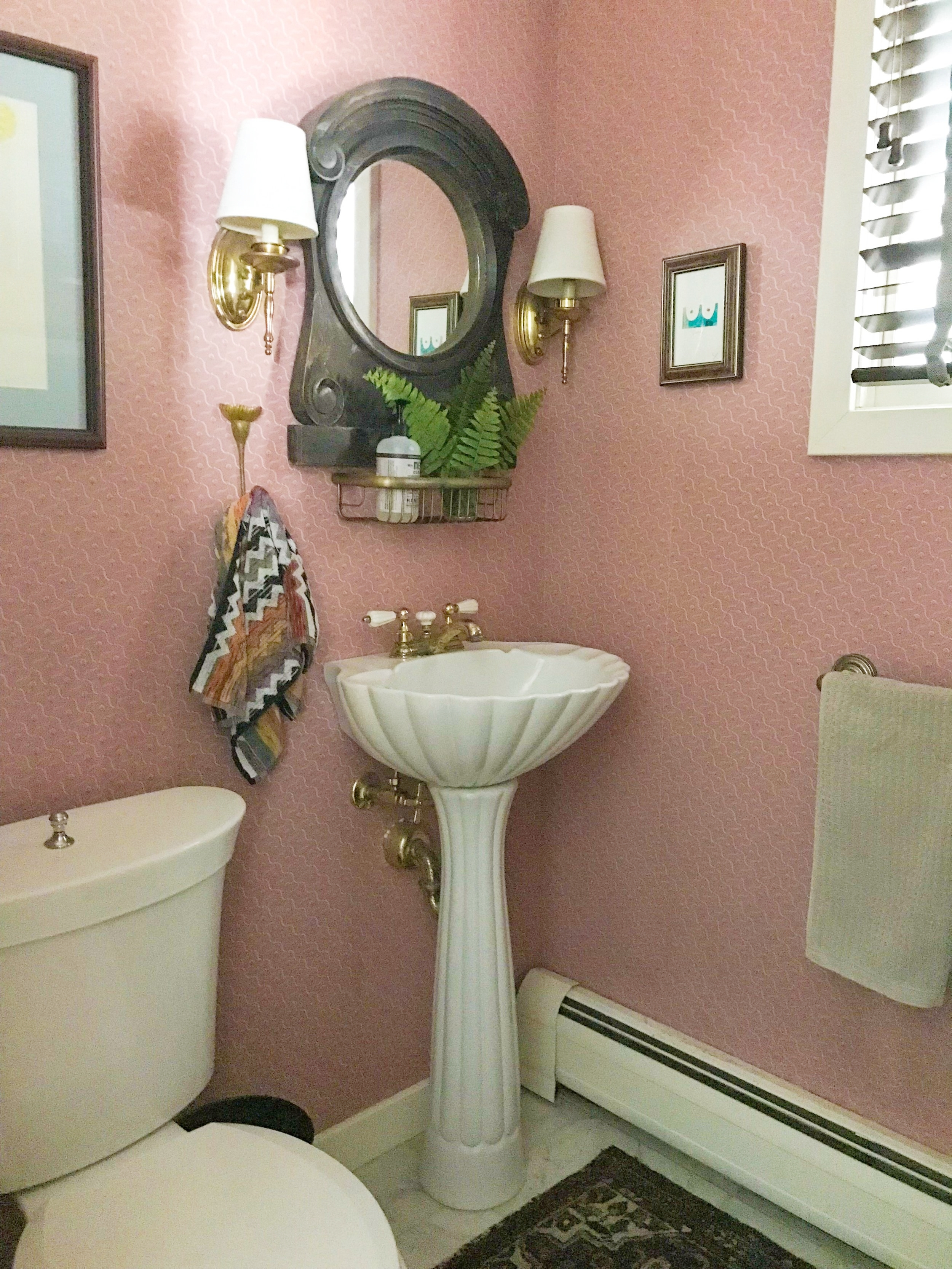 pink powder room lampshade sconces