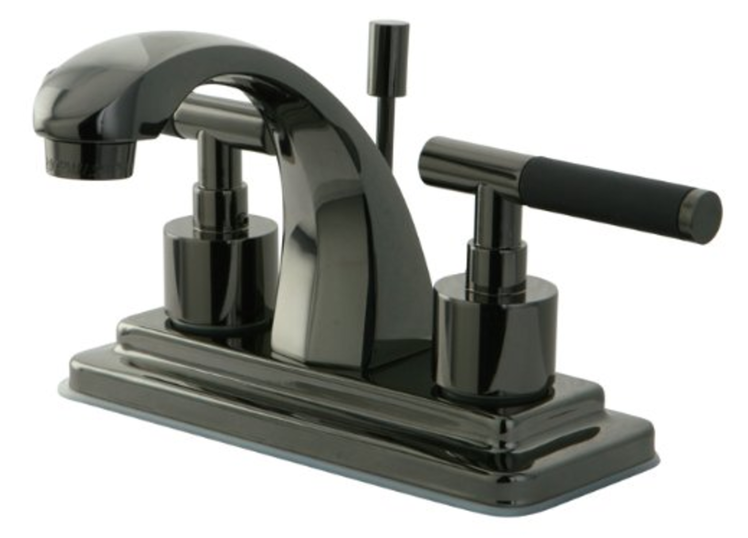 Onyx 4 inch Centerset Lavatory Faucet with Brass Pop-up Drain, Black Stainless Steel