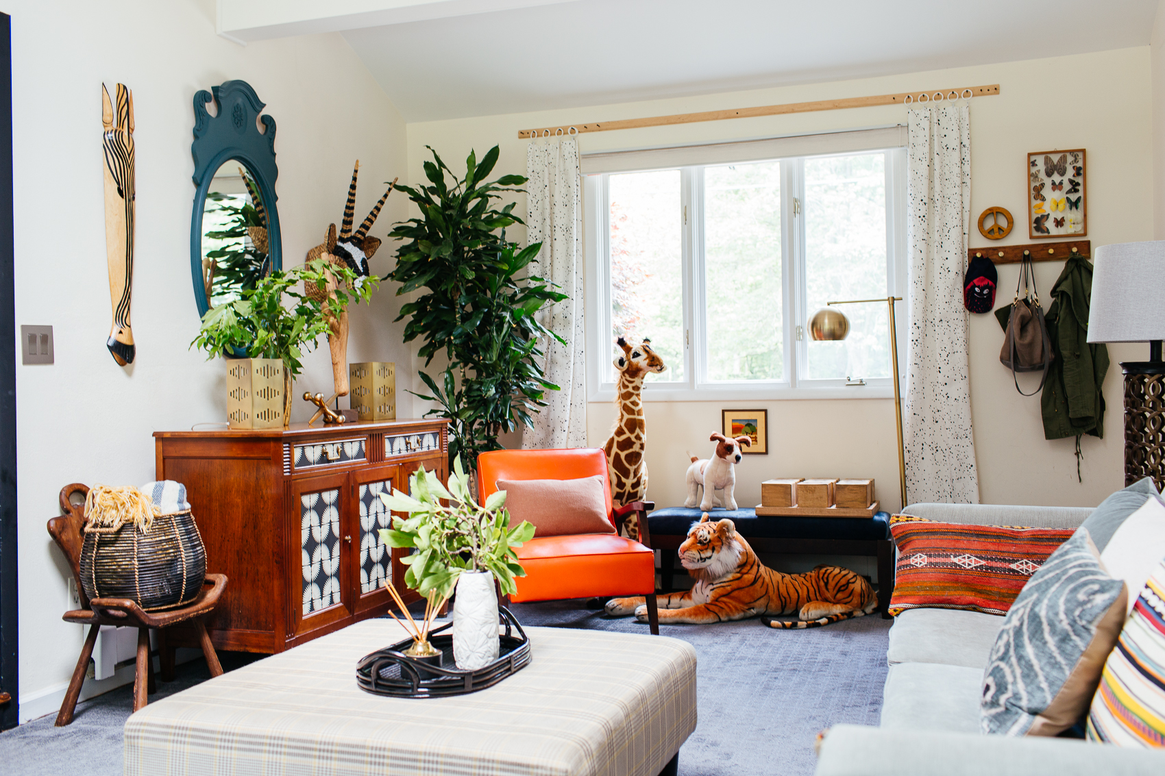 eclectic kid friendly colorful family room playroom therathproject