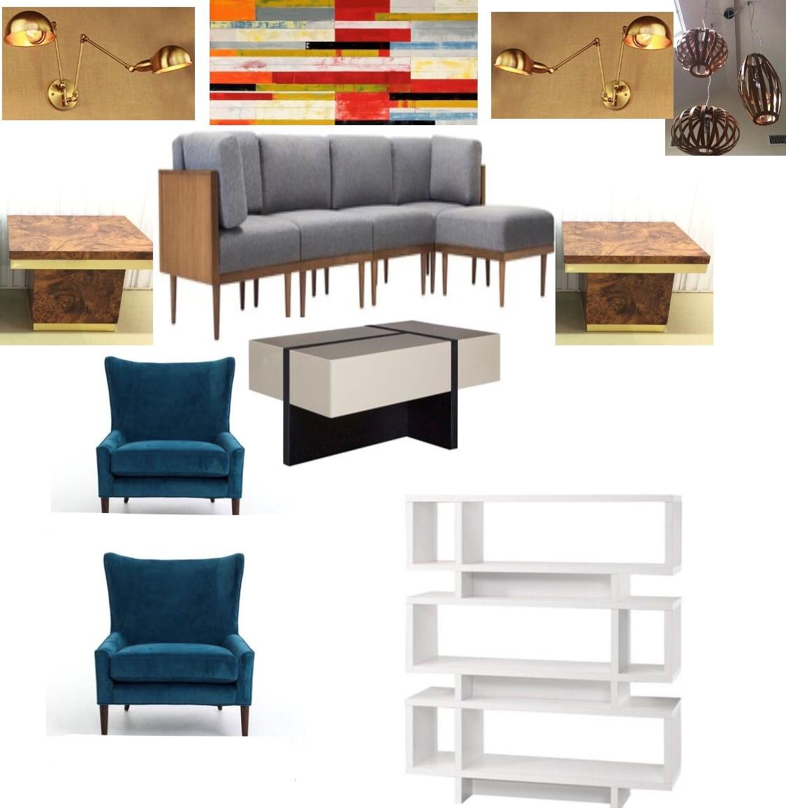 modern chic family room moodbaord