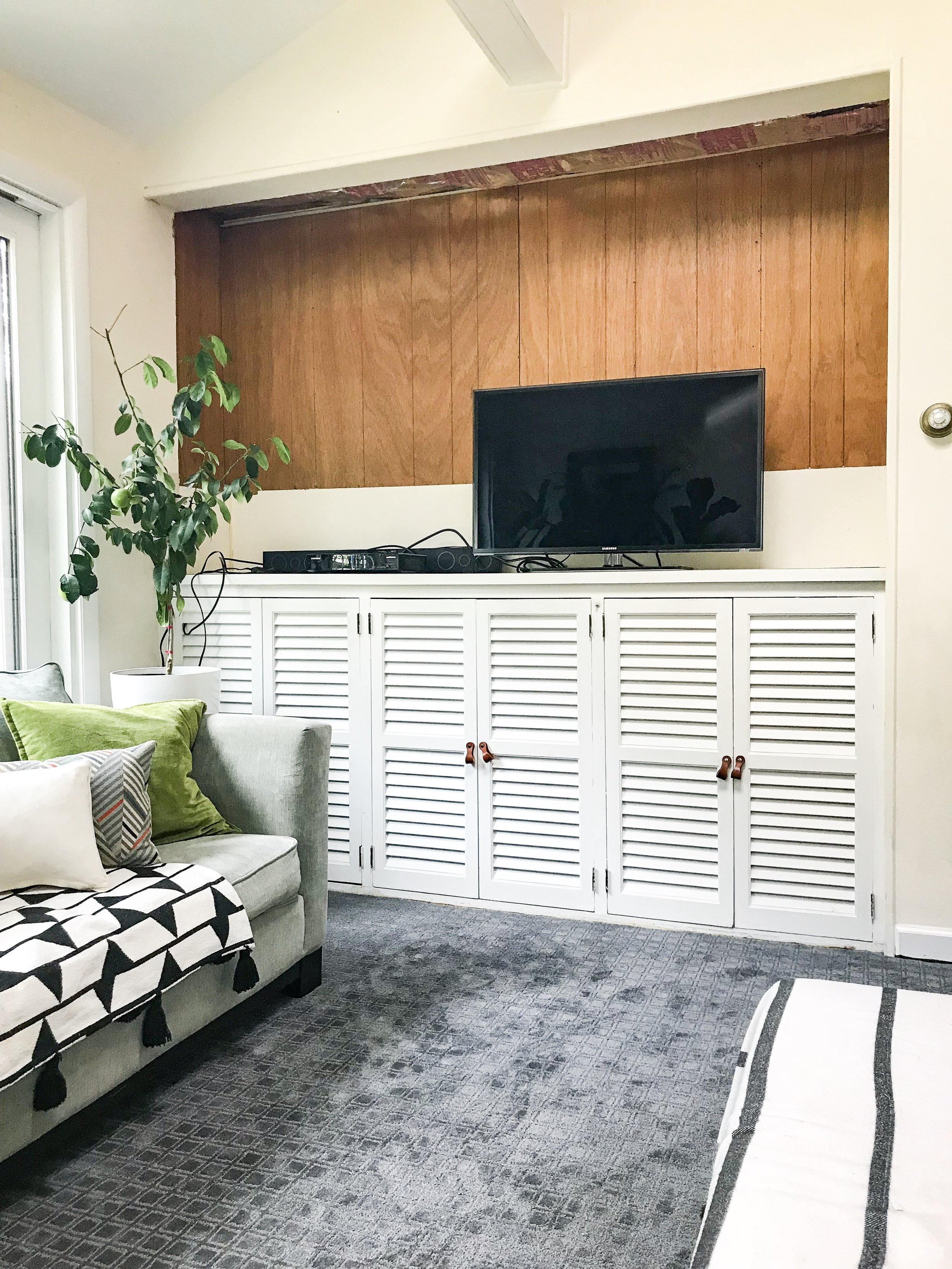 midcentury built ins makeover family room remodel